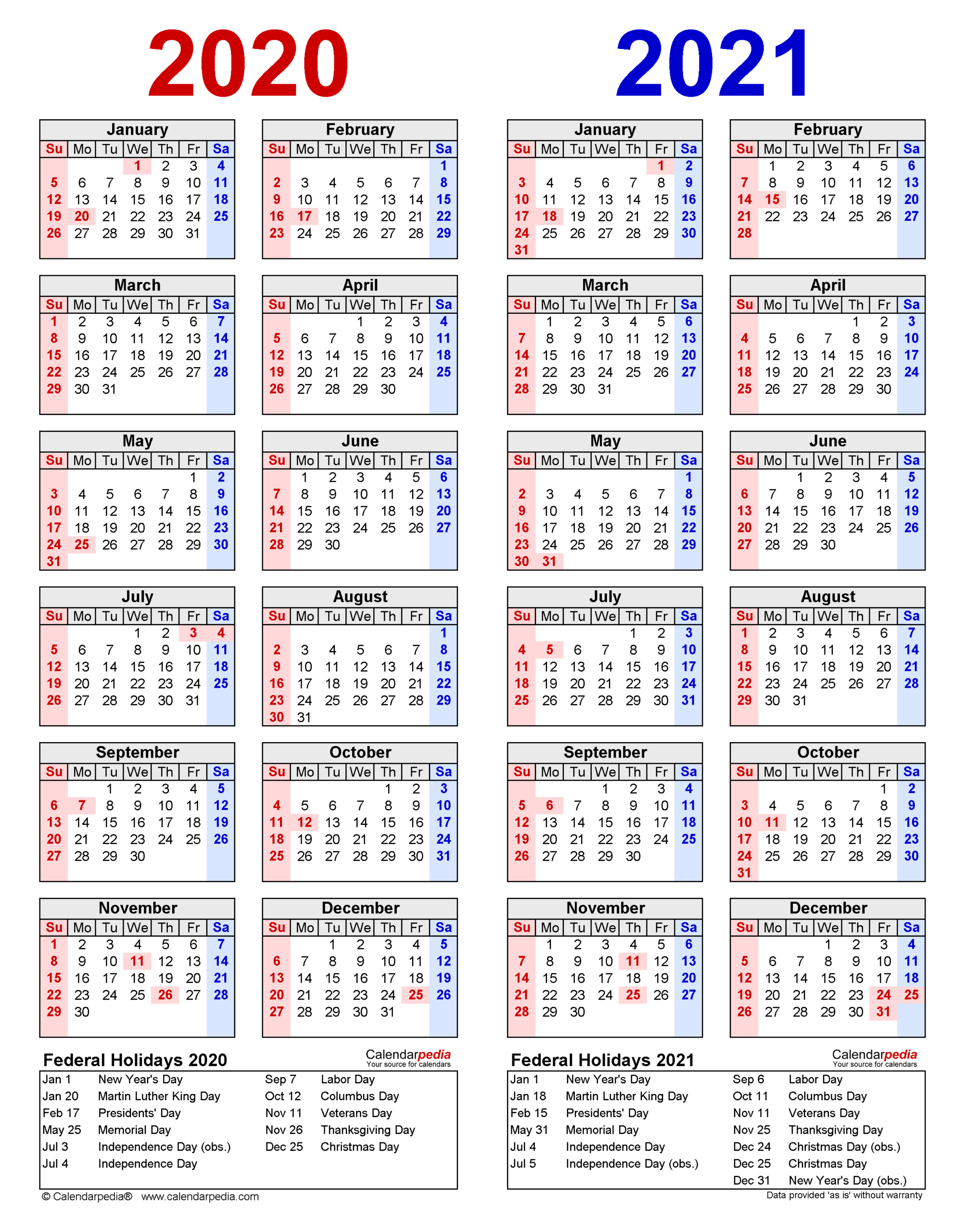 2020-2021 Two Year Calendar - Free Printable Word Templates in 2021-2021 Two Year Planner: Calendar