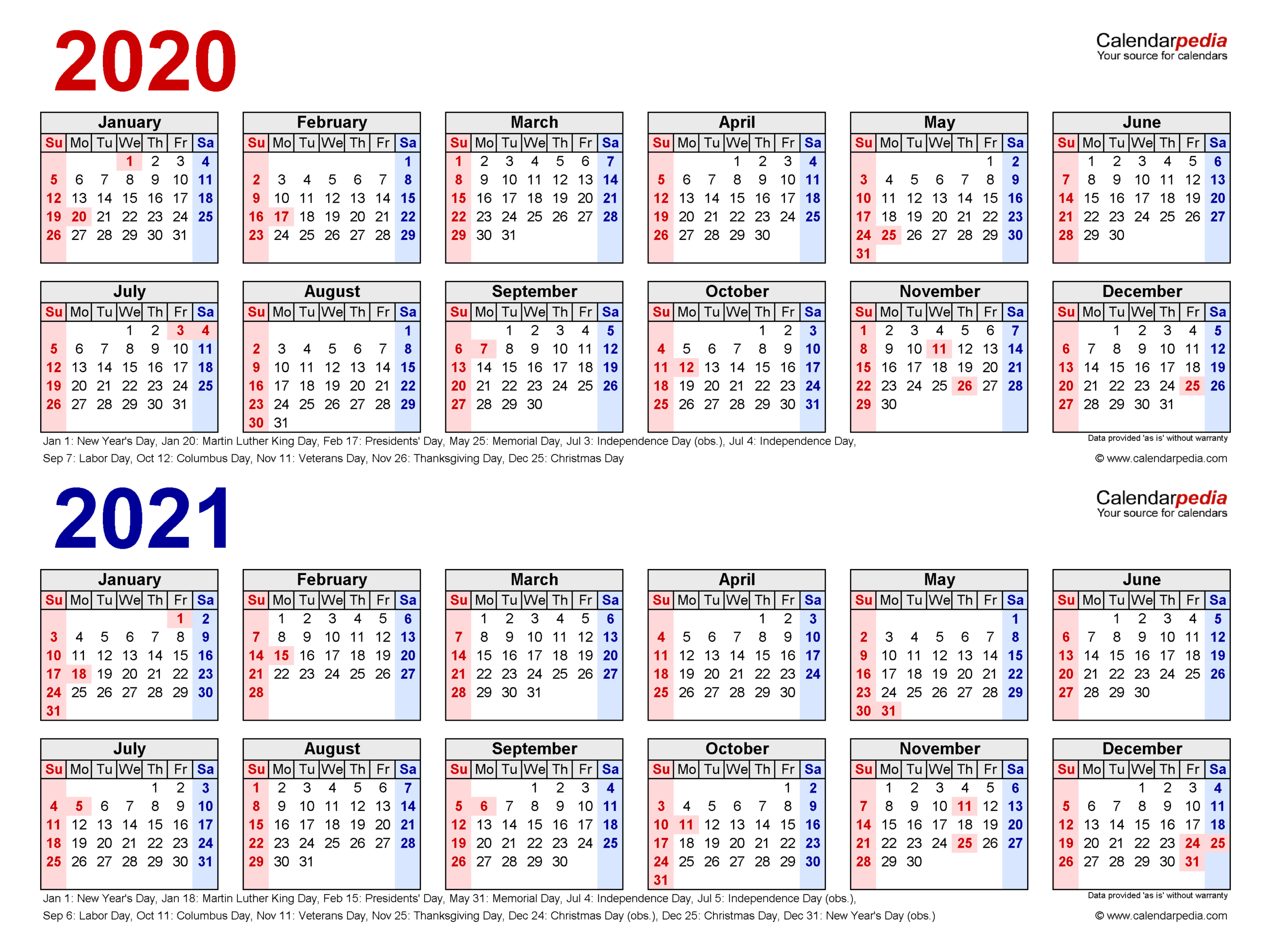 2020-2021 Two Year Calendar - Free Printable Word Templates throughout 2021-2021: 2-Year Planner 24-Monthly