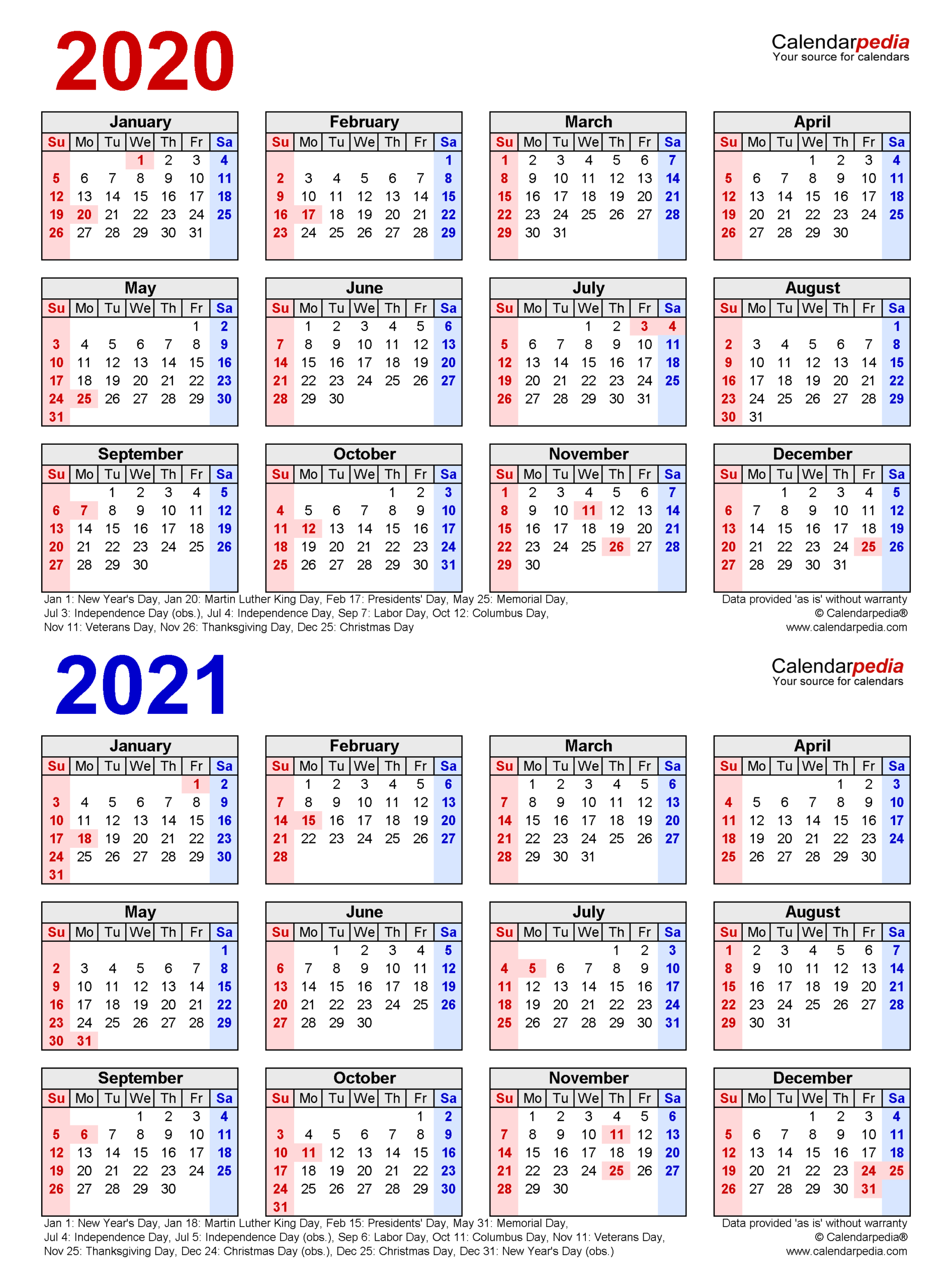 2020-2021 Two Year Calendar - Free Printable Word Templates throughout 2021-2021 Monthly Two Year Planner: