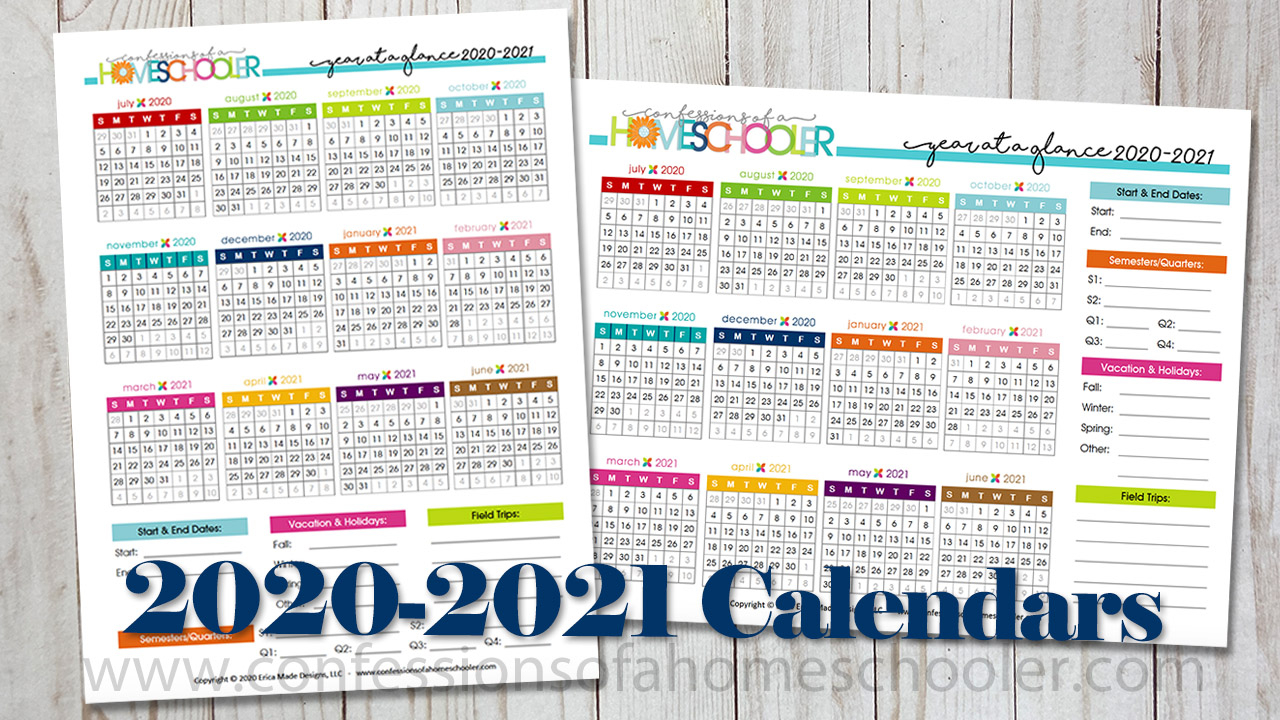 2020-2021 Year At A Glance Printable Calendars - Confessions regarding 2021-2021 Two Year Planner: 2021-2021