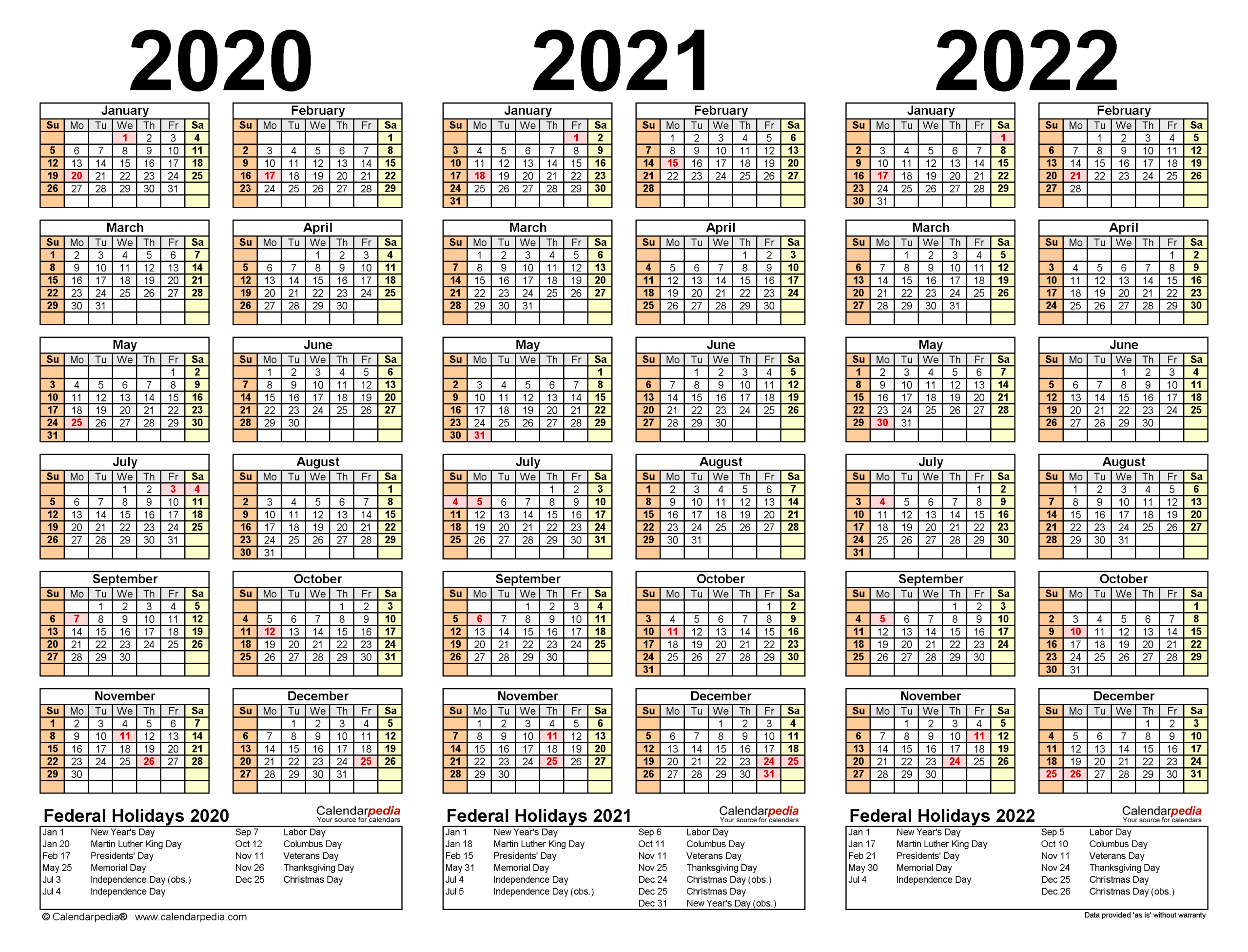 2020-2022 Three Year Calendar - Free Printable Excel Templates pertaining to 2021-2022 Three Year Planner: 3 Year