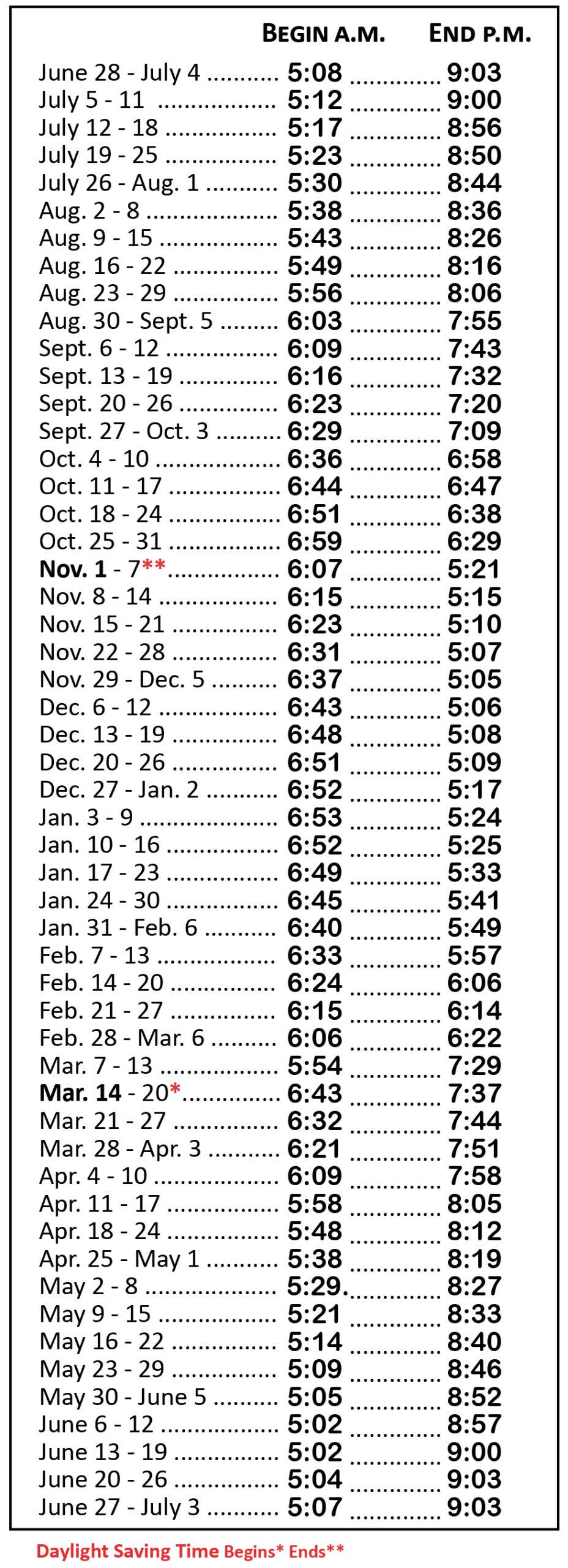 2020-21 Hunting Hours Table for Deer Rut Calendar 2021