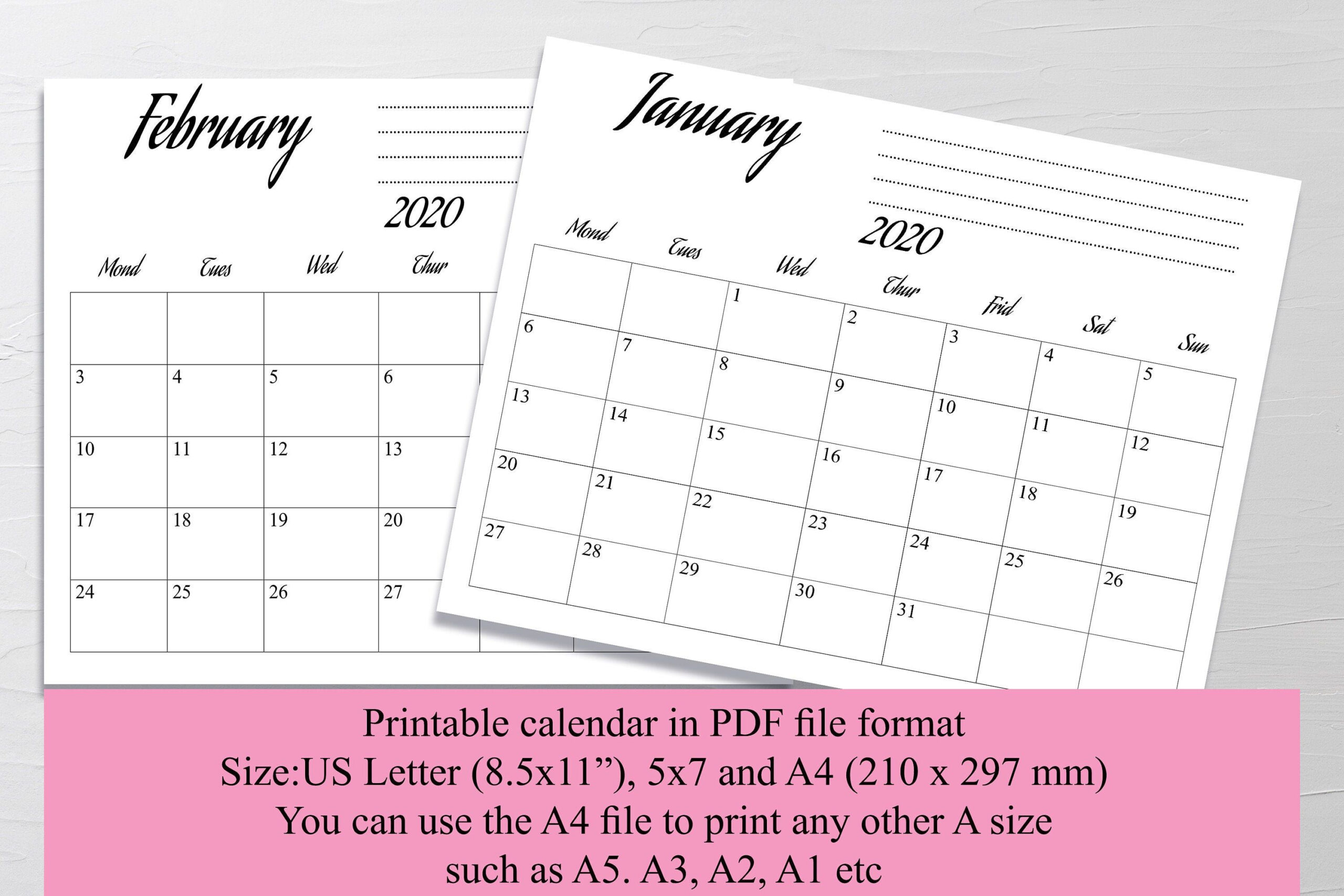 2020 Calendar Digital Download Pdf, Horizontal Calendar regarding Free Printable Small Pocket Calendars