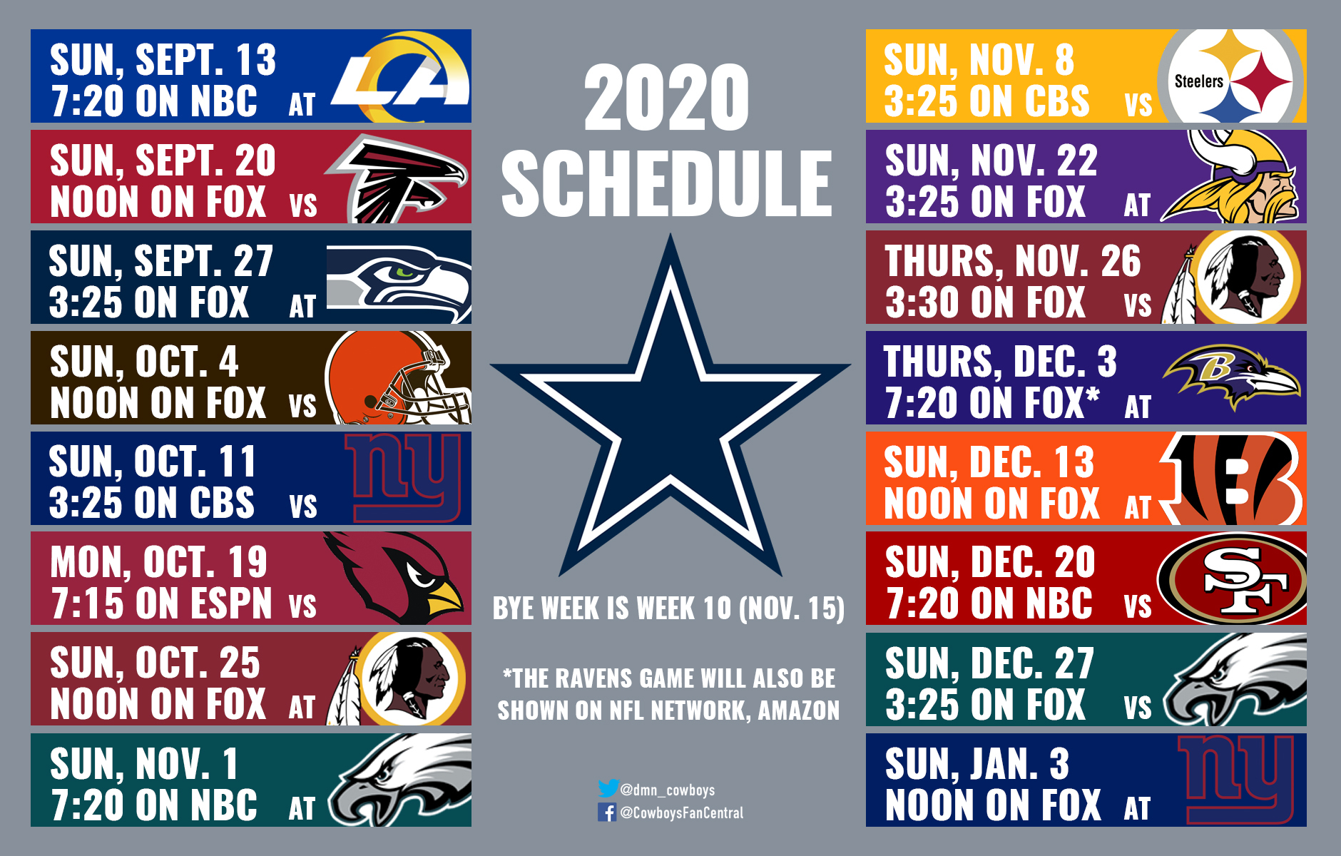 2020 Cowboys Schedule: Dates And Times Announced For Dallas for Nfl 2021 Schedule Printable
