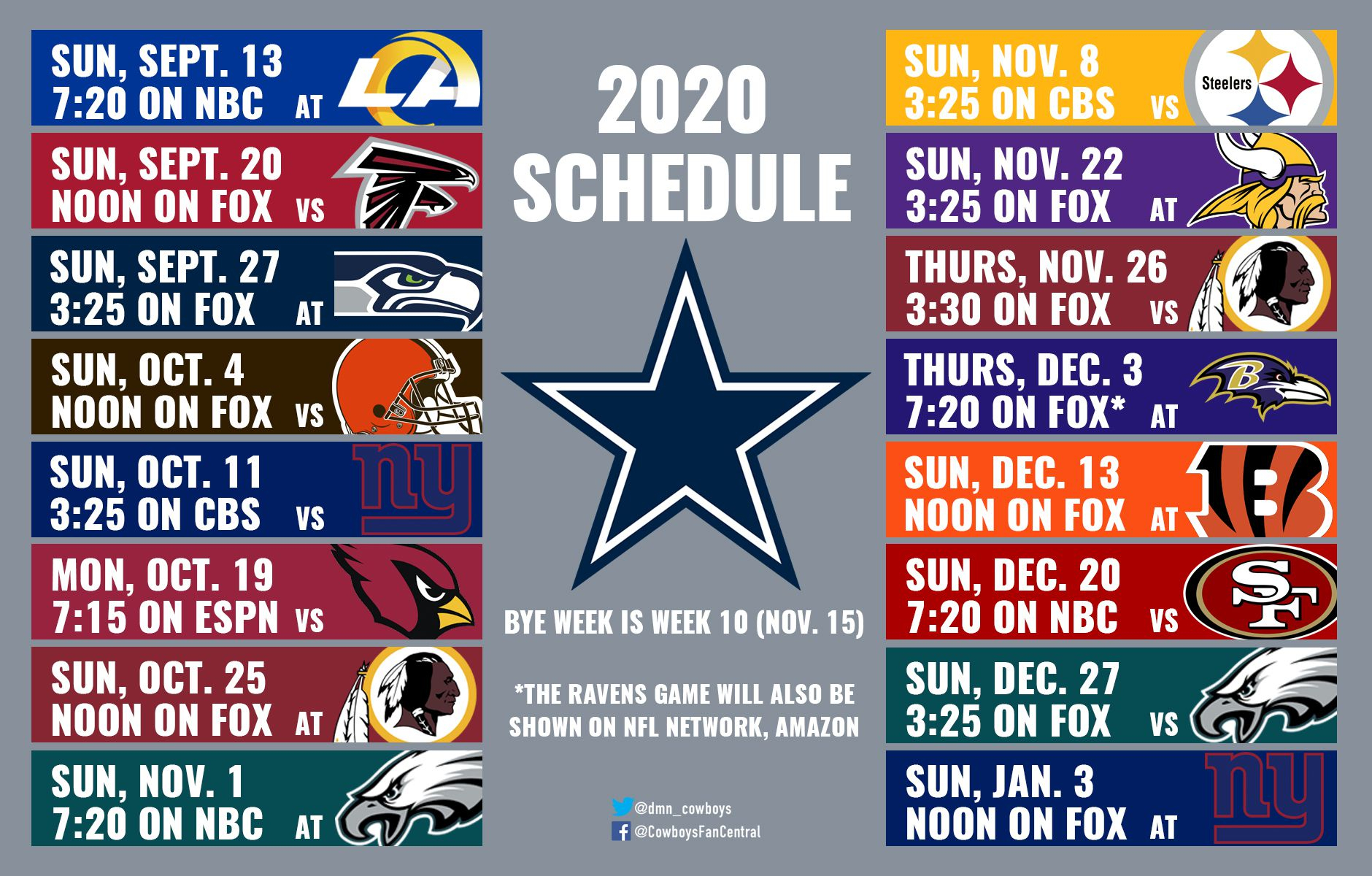 2020 Cowboys Schedule: Dates And Times Announced For Dallas intended for Printable Nfl Schedule 2021