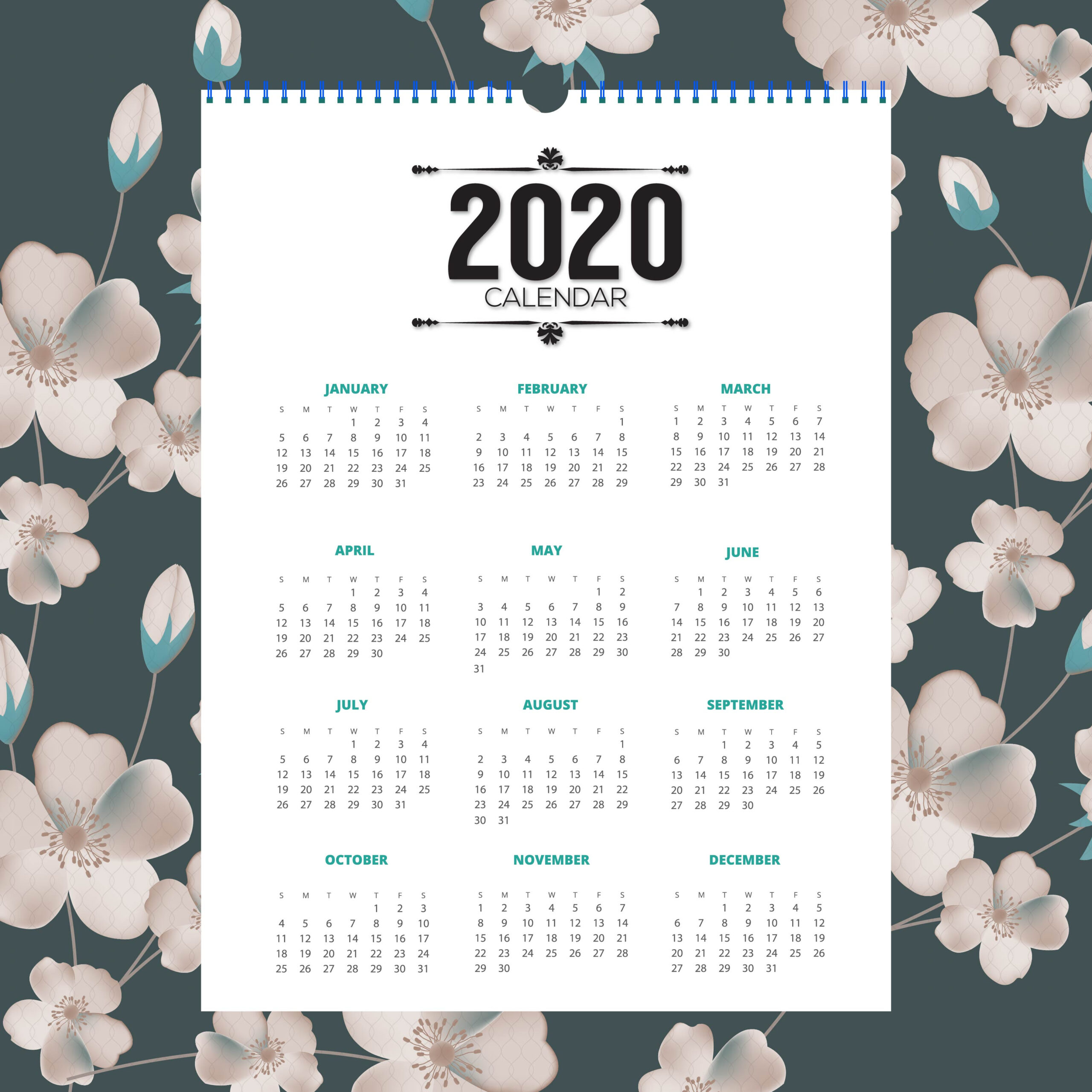 2020 Floral Calendar Design - Download Free Vectors, Clipart with regard to Tropical Floral: Calendar 2021 Monthly