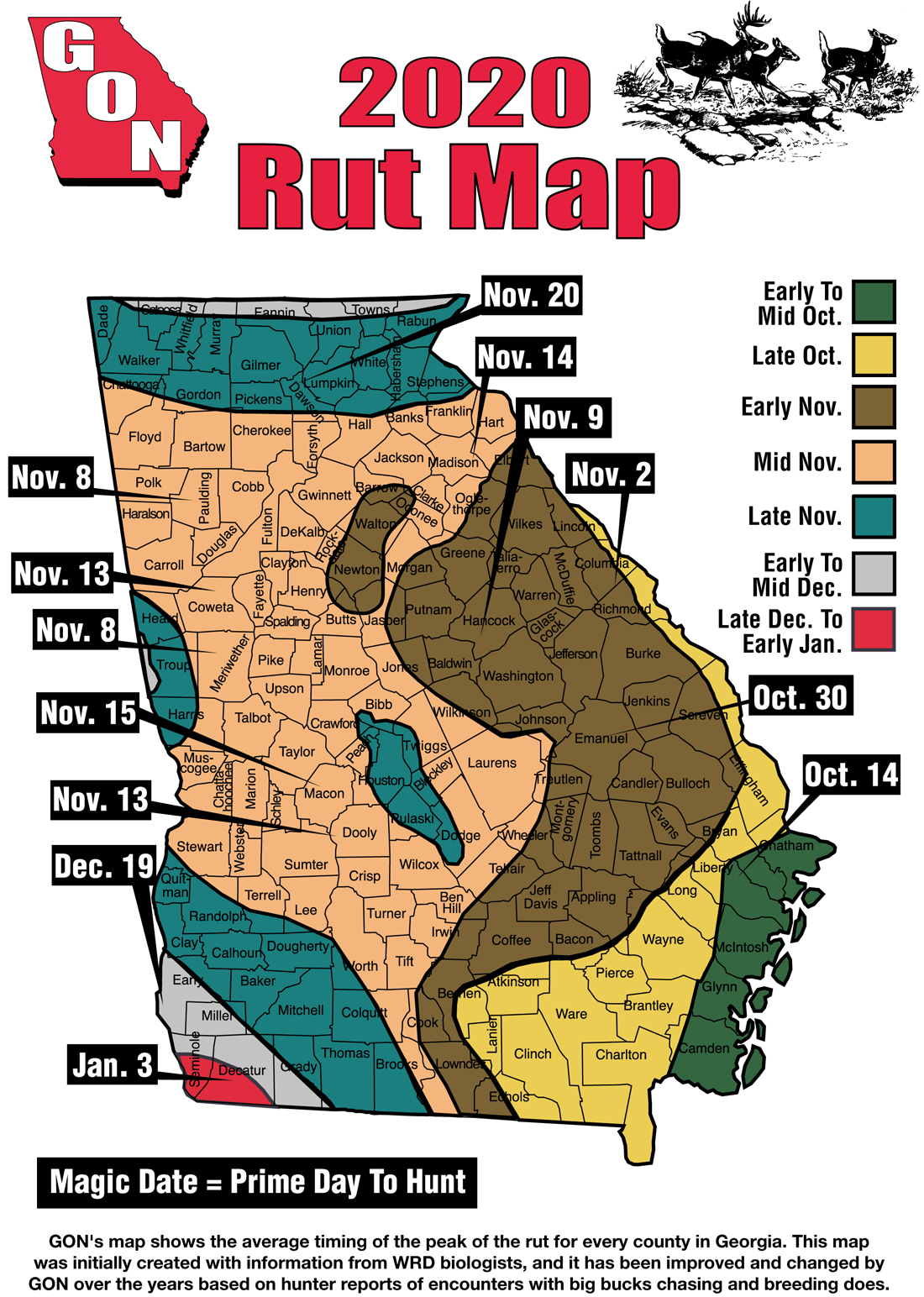2020 Georgia Rut Map throughout Rut Forecast 2021