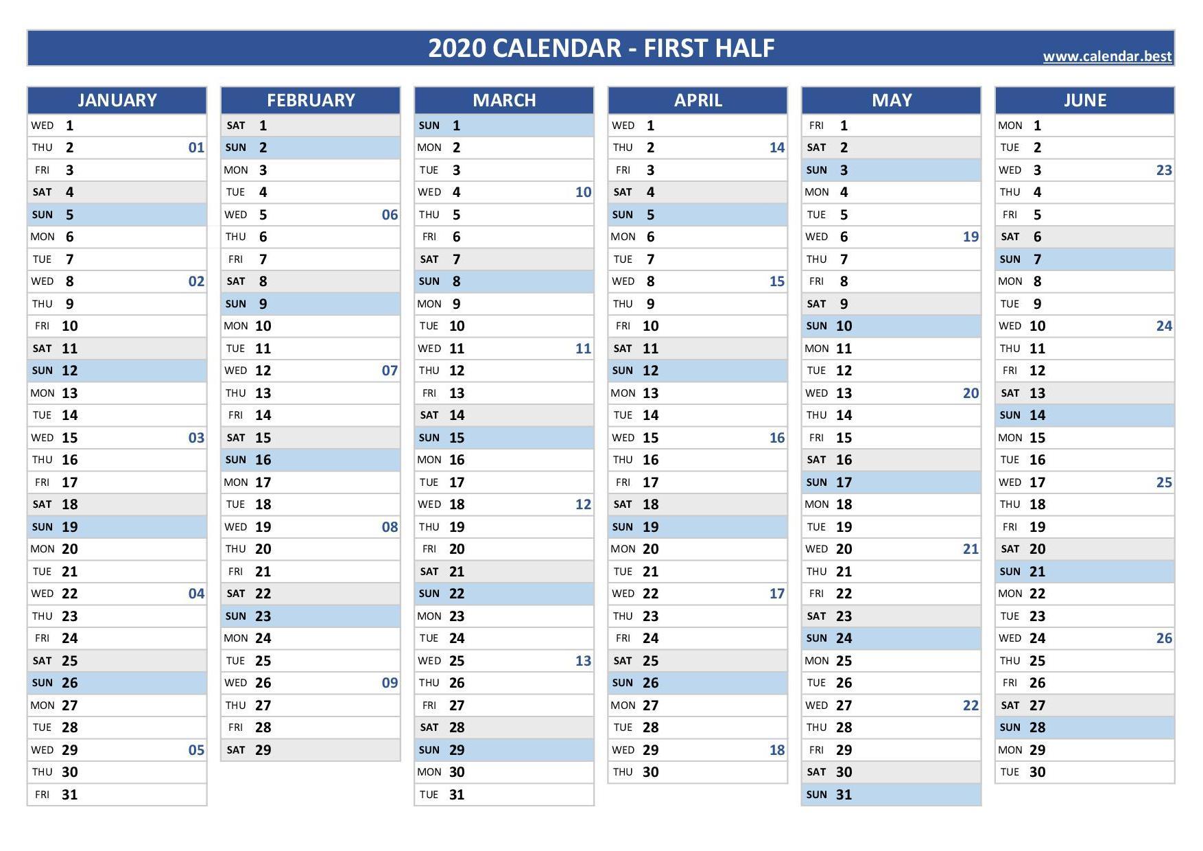 2020 Half Year Calendar -Calendar.best pertaining to Half-Page Yearly Callendar