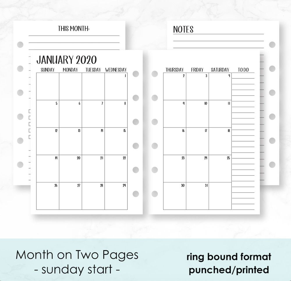 2020 Monthly Calendar Planner Fits Filofax Small 6 Ring for Free Printable Pocket Size Calendars
