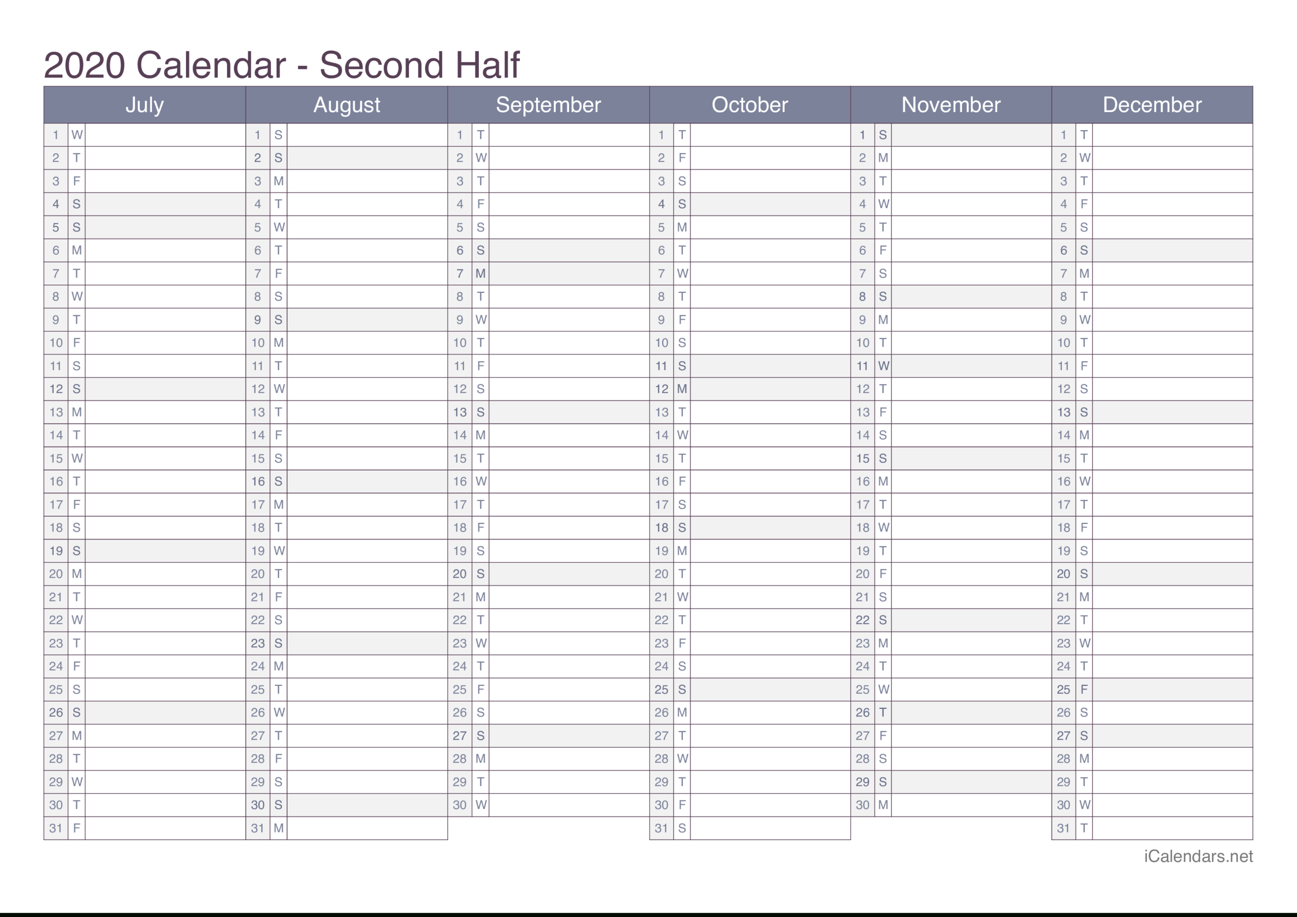 2020 Printable Calendar - Pdf Or Excel - Icalendars for Half-Page Yearly Callendar