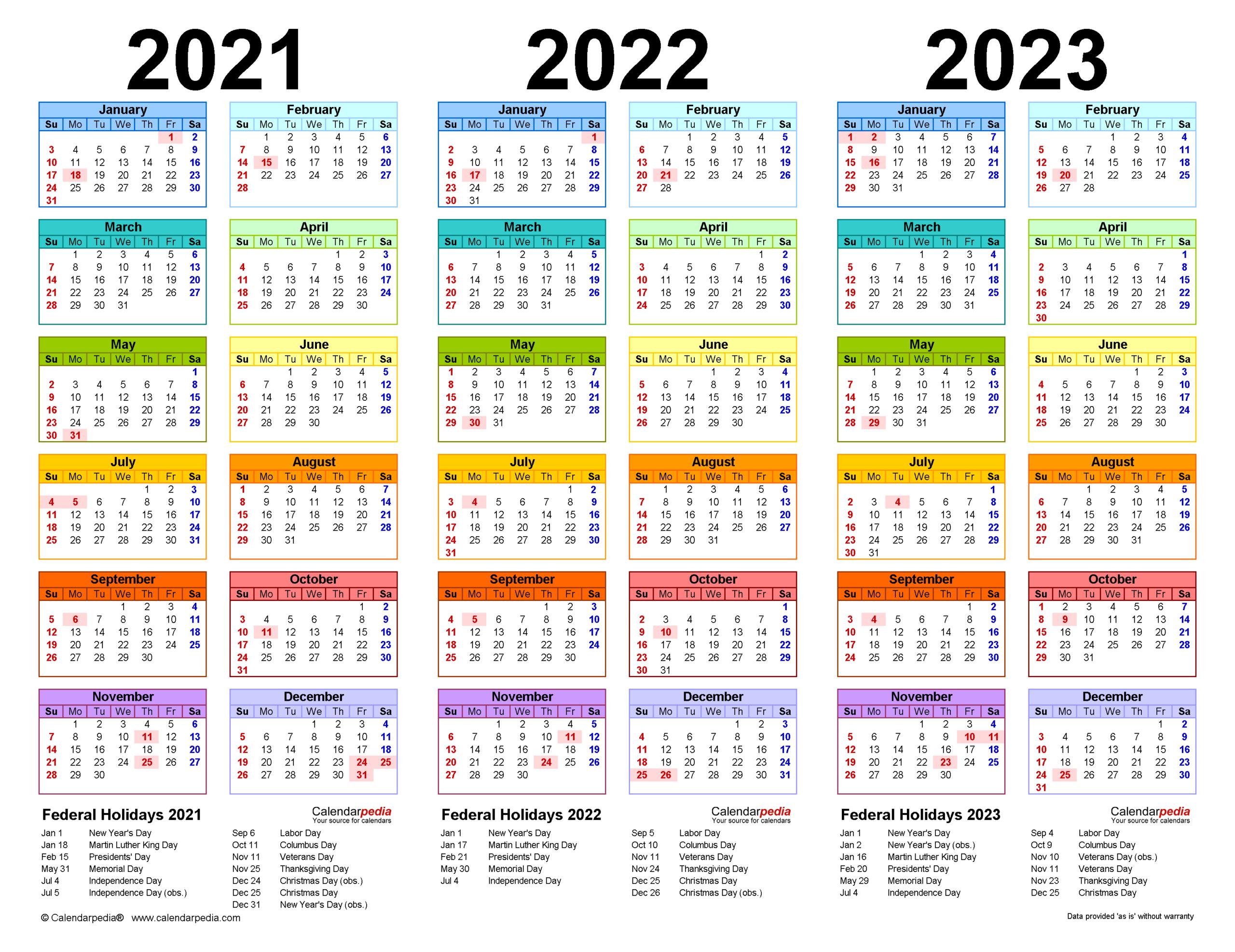 2021-2023 Three Year Calendar - Free Printable Pdf Templates inside 2021 - 2023 Four Year Monthly Calendar