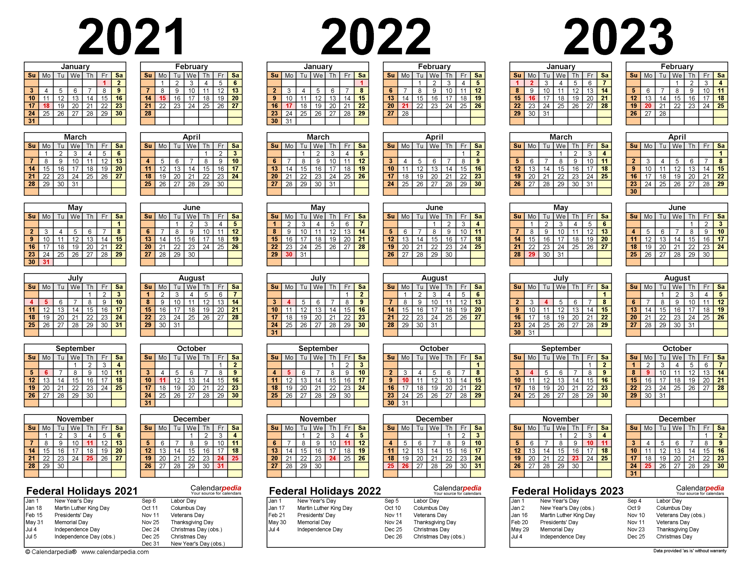 2021-2023 Three Year Calendar - Free Printable Pdf Templates with 2021 - 2023 Four Year Monthly Calendar