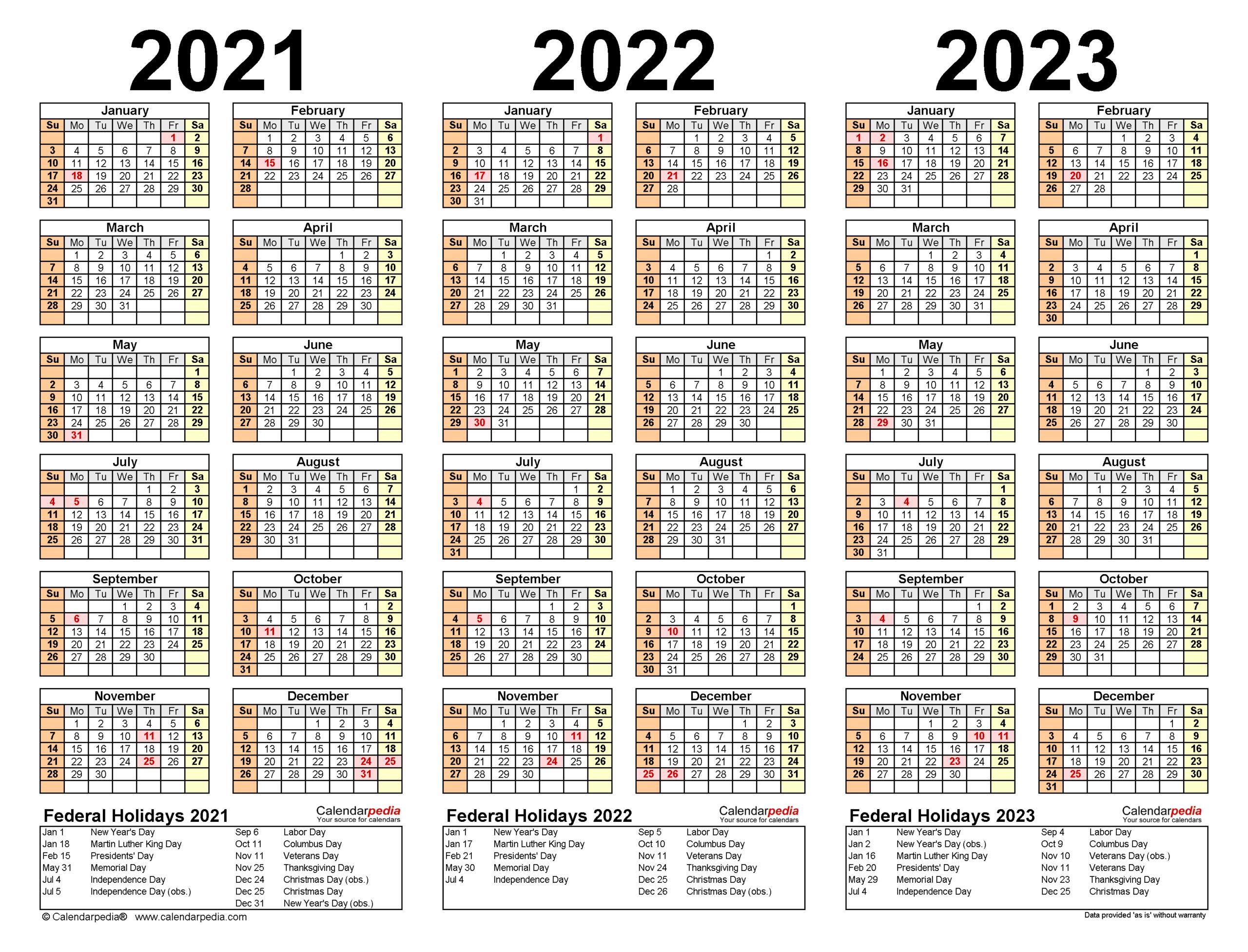2021-2023 Three Year Calendar - Free Printable Word Templates in Three Year Printable Calendar 2021 To 2023