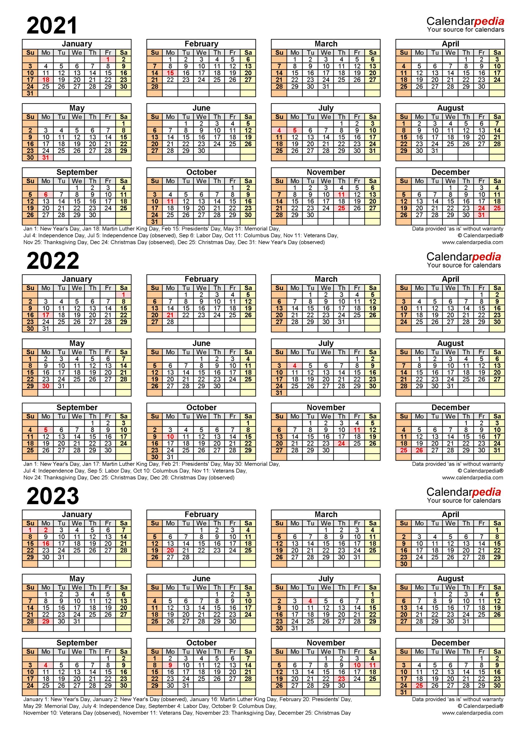 2021-2023 Three Year Calendar - Free Printable Word Templates throughout Three Year Printable Calendar 2021 To 2023