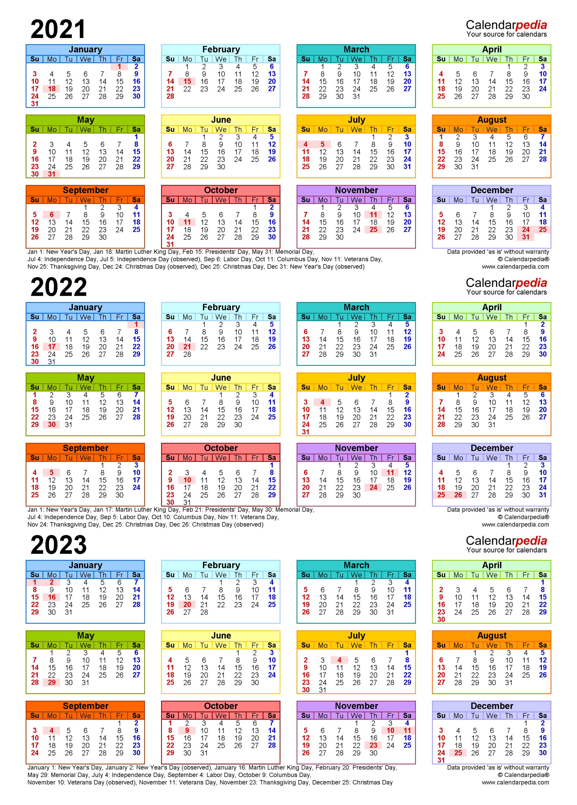 2021-2023 Three Year Calendar - Free Printable Word Templates with regard to Three Year Printable Calendar 2021 To 2023
