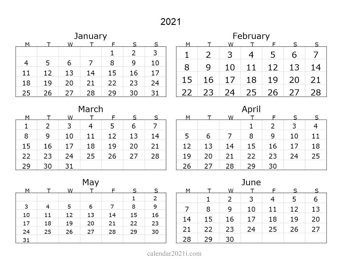 2021 6 Months Landscape Calendar In 2020 | Printable with Calendar 2021 All Months