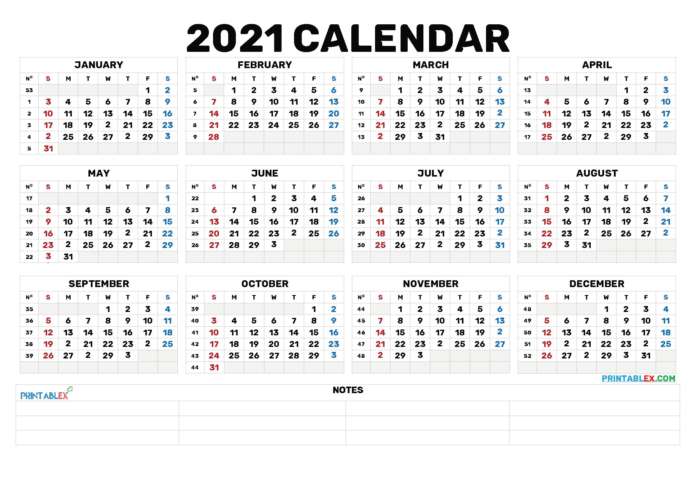 2021 Annual Calendar Printable - 21Ytw173 throughout Fill In Yearly Calendar 2021