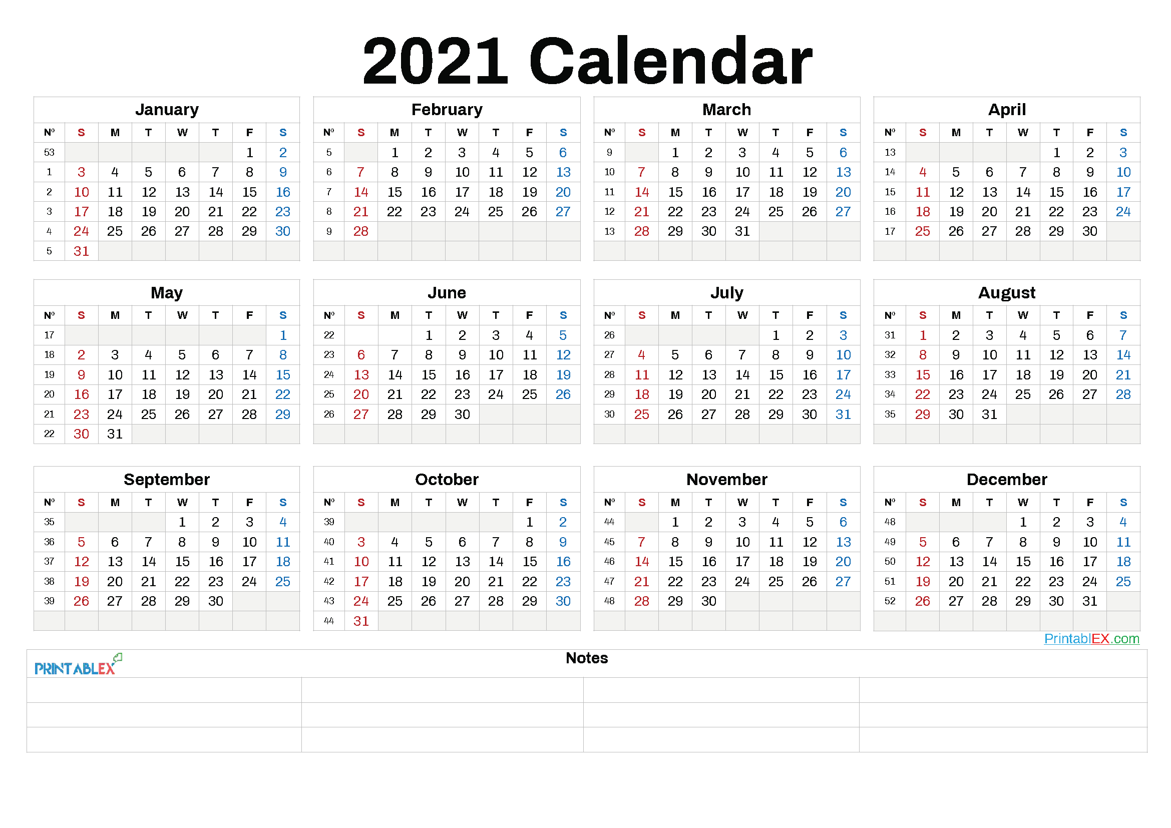 2021 Annual Calendar Printable – 6 Templates – Free with 2021 Printable Yearly Calendar Template