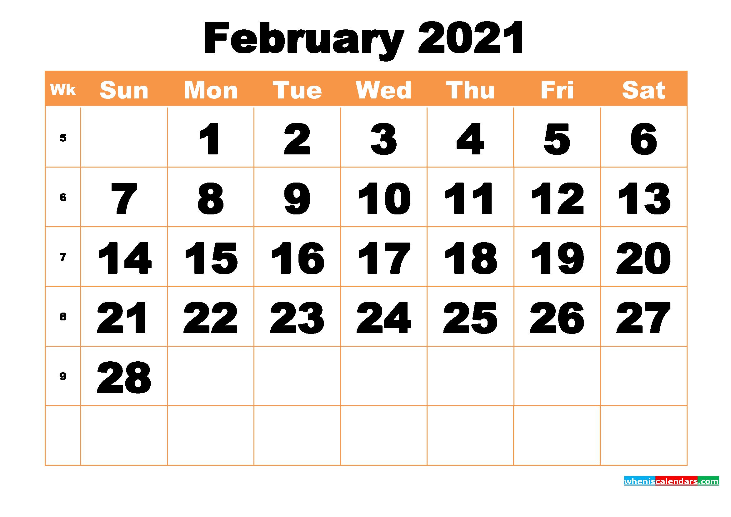 2021 Calendar February regarding 2021 Large Bold Printable Calendar