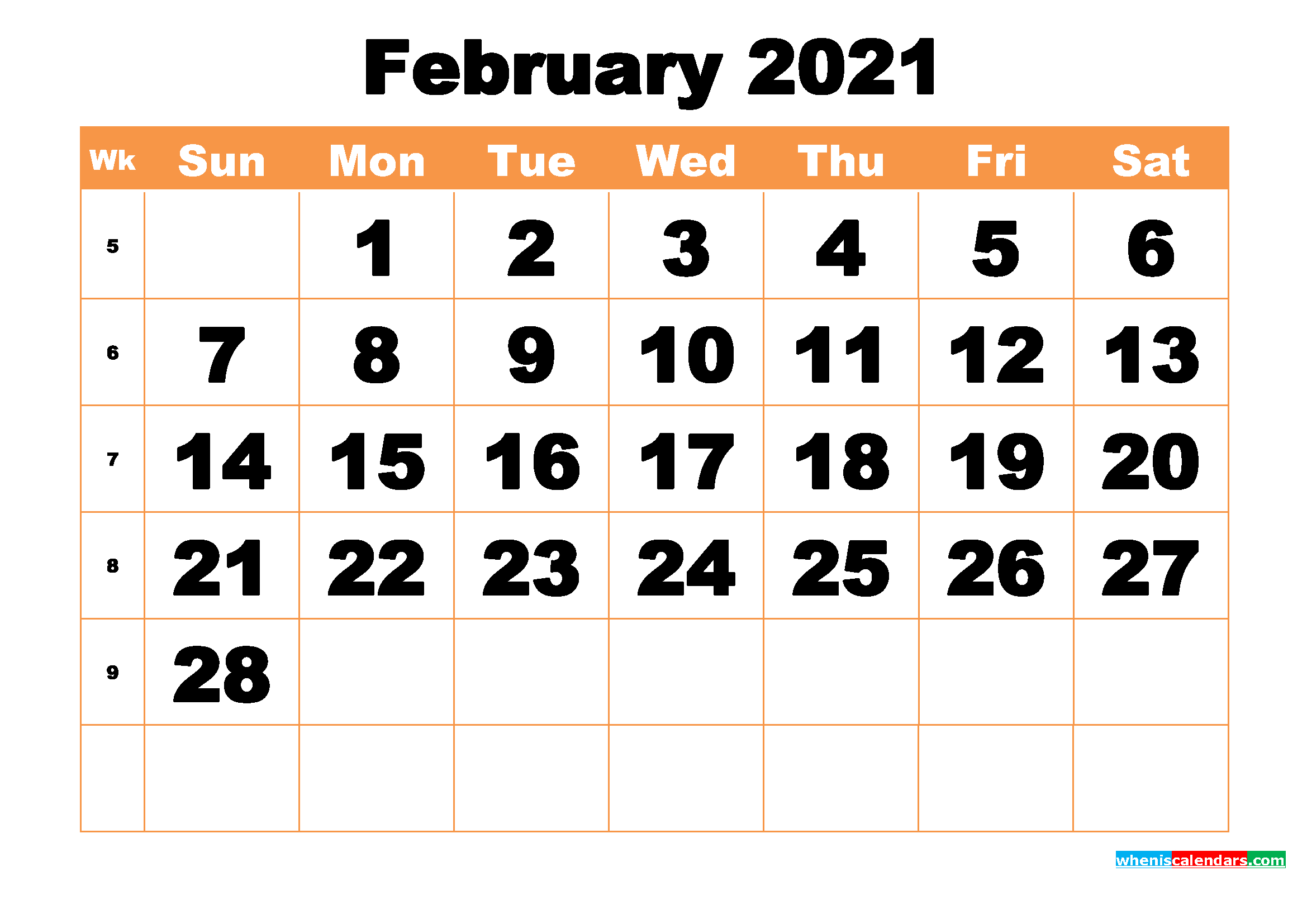 2021 Calendar February with Large Bold Printable Calendar