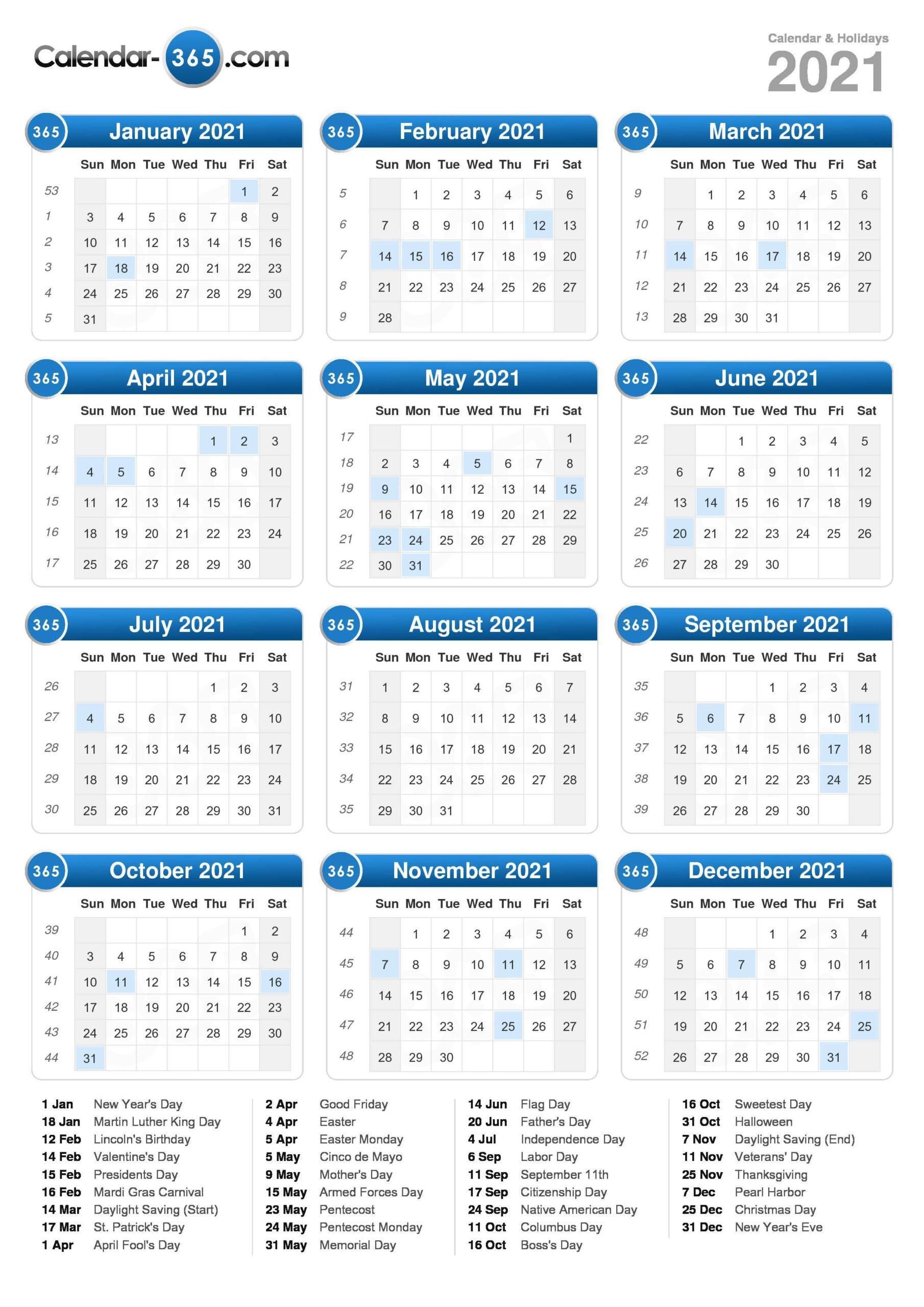 2021 Calendar for Weekly Planner For 2021- 52 Weeks