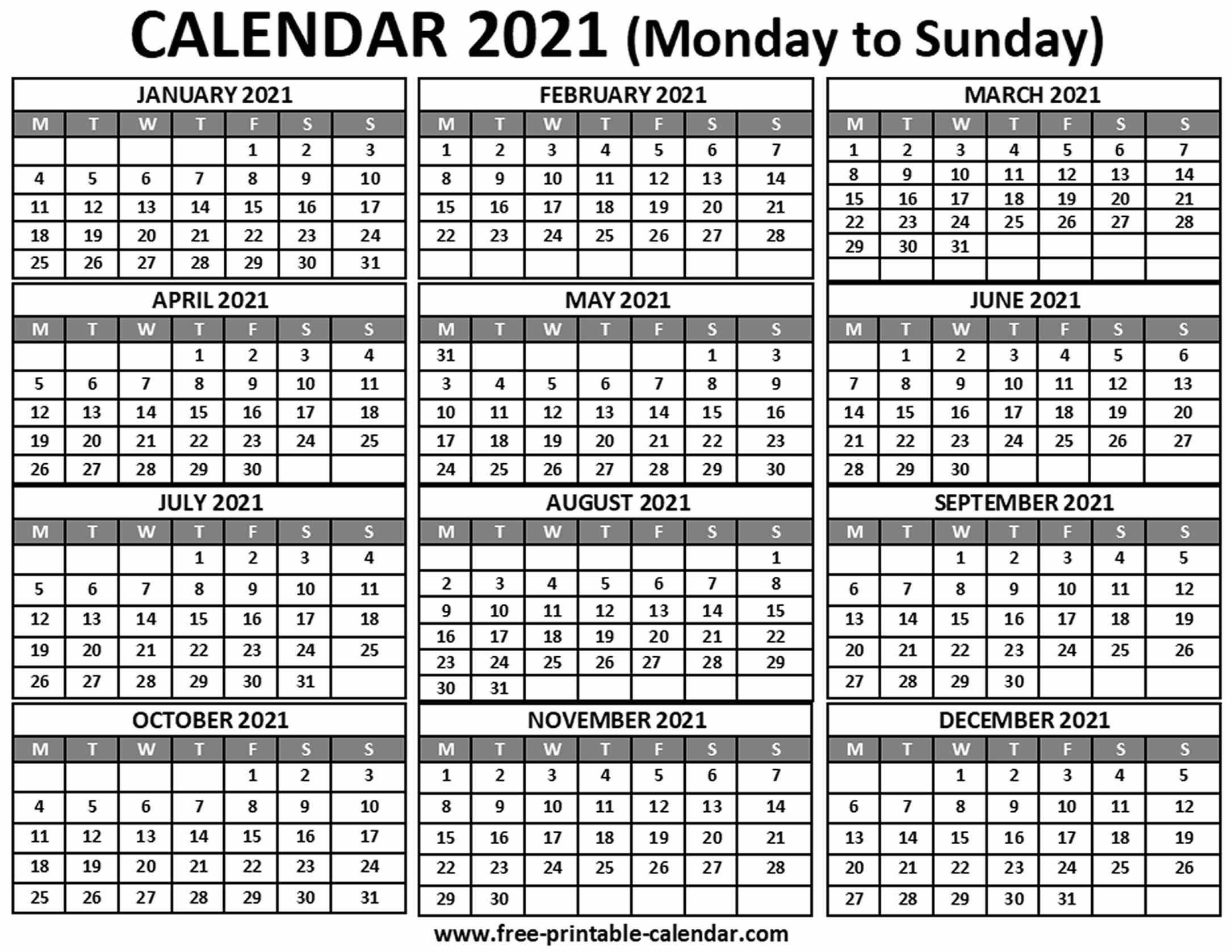2021 Calendar - Free-Printable-Calendar inside 2021 Printable Pocket Calendars