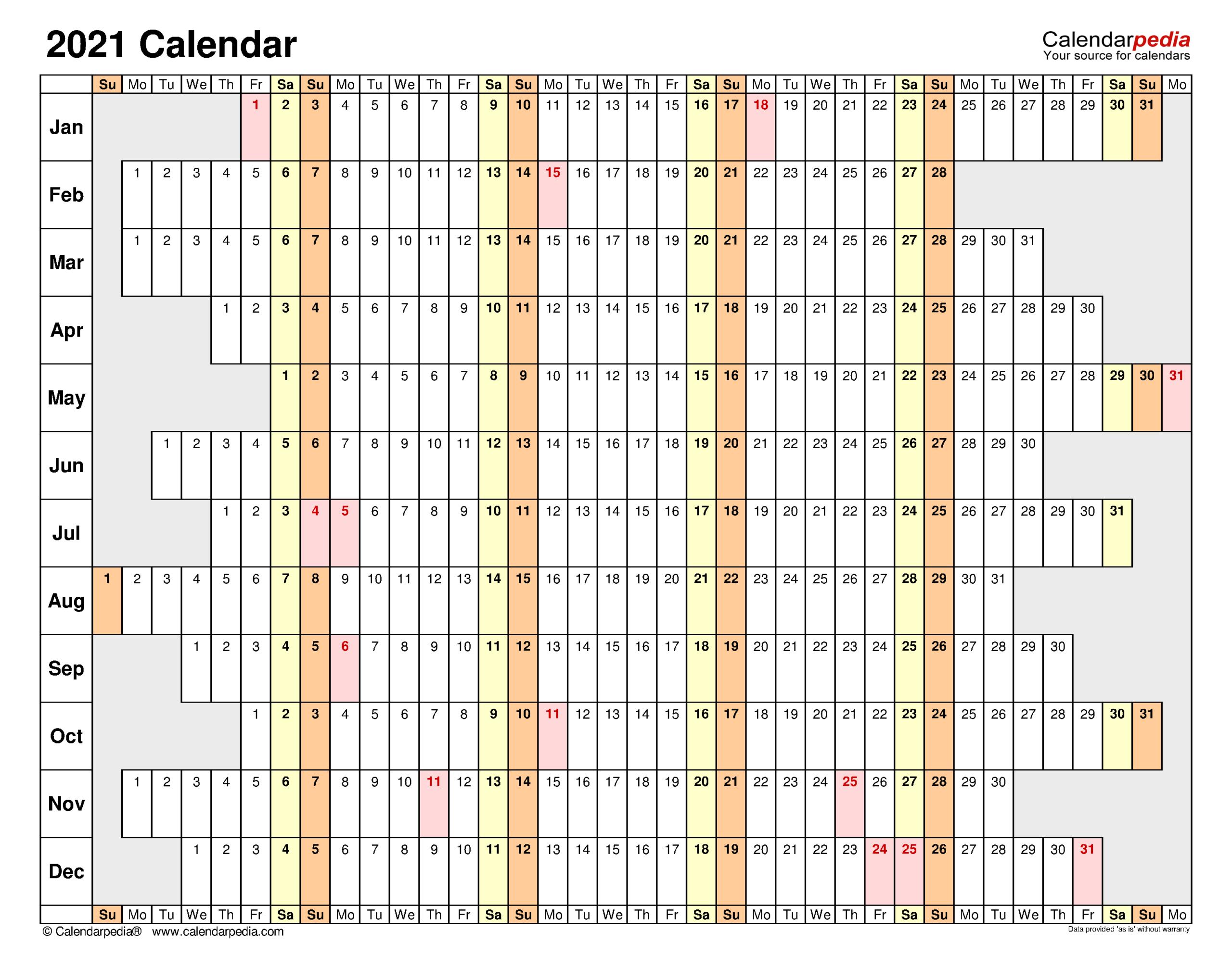 2021 Calendar - Free Printable Excel Templates - Calendarpedia inside 2021 Shift Calendar Free