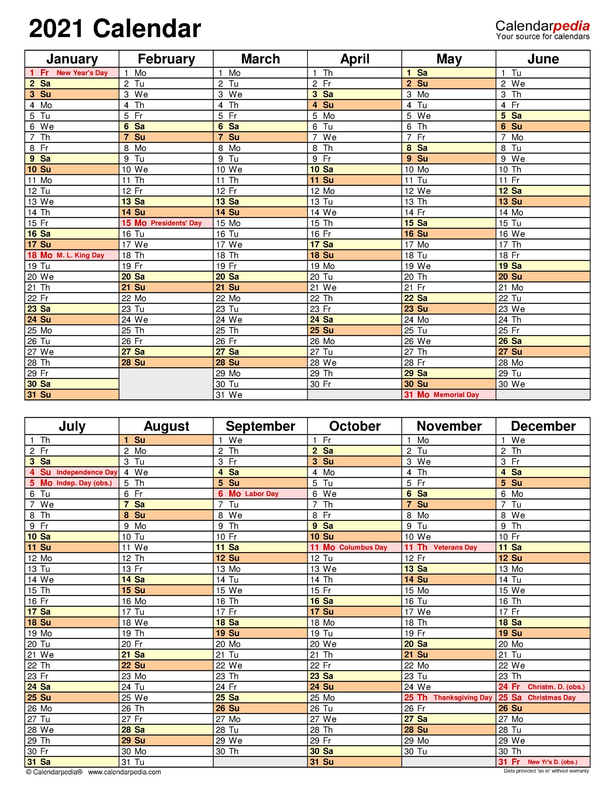 2021 Calendar - Free Printable Excel Templates - Calendarpedia intended for 2021 Shift Calendar Free