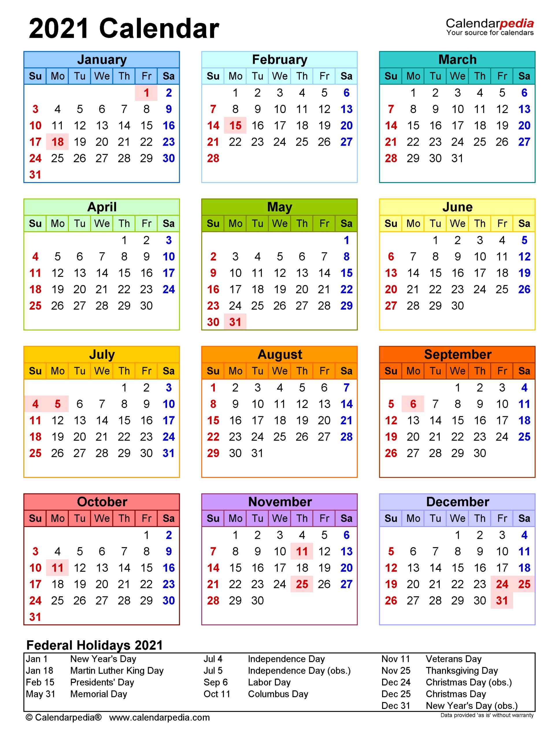 2021 Calendar - Free Printable Excel Templates - Calendarpedia intended for Federal Government Calendar 2021 Printable
