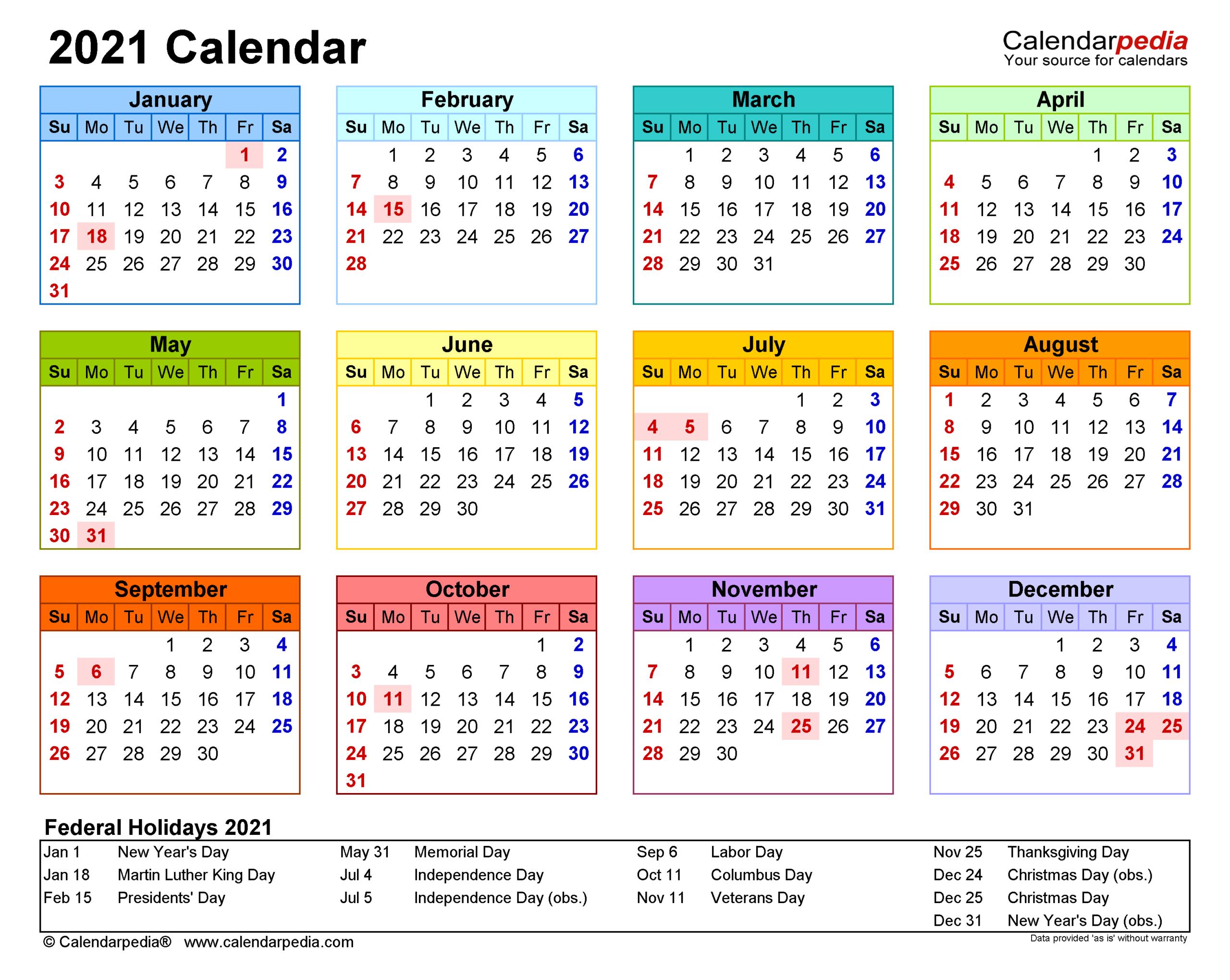2021 Calendar - Free Printable Excel Templates - Calendarpedia within 2021 Printable Pocket Calendars