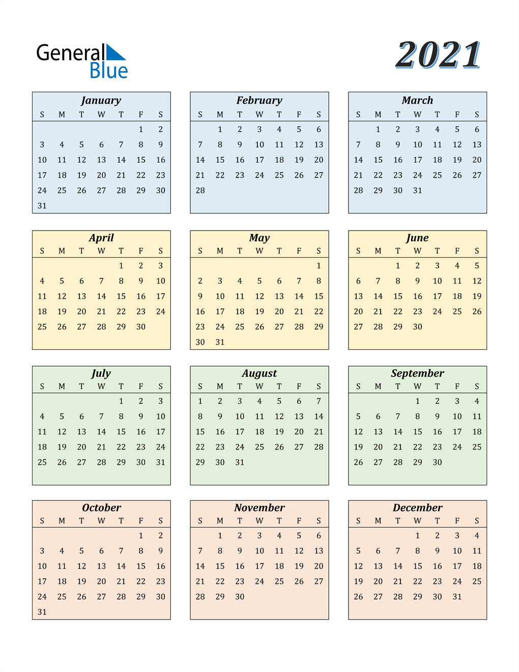 2021 Calendar (Pdf, Word, Excel) in Free Print 2021 Calendars Without Downloading