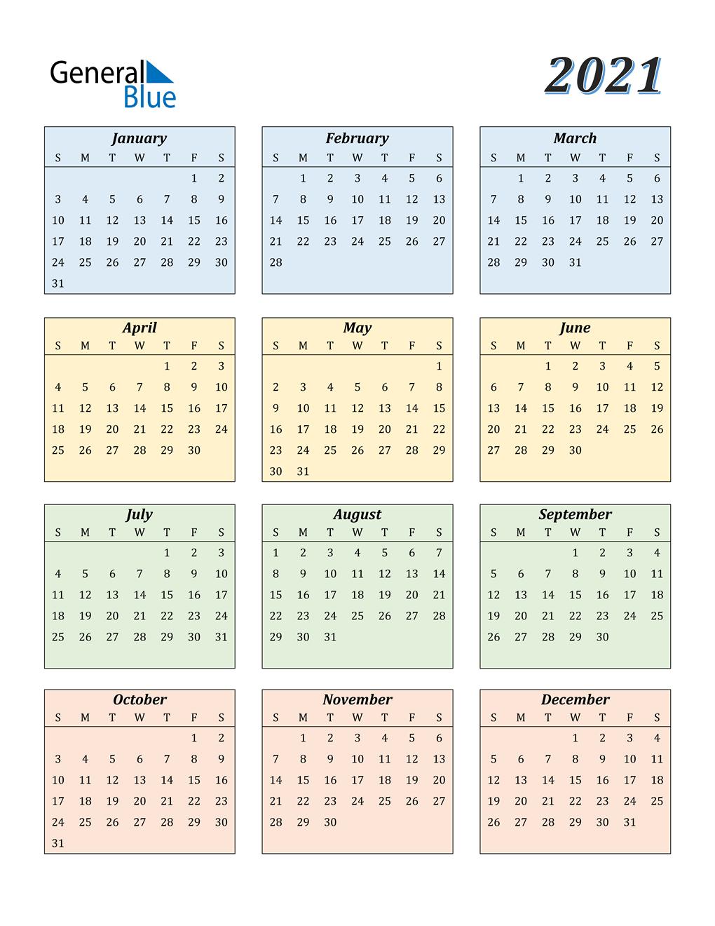 2021 Calendar (Pdf, Word, Excel) regarding 2021-2021 Monthly Planner: 2 Year
