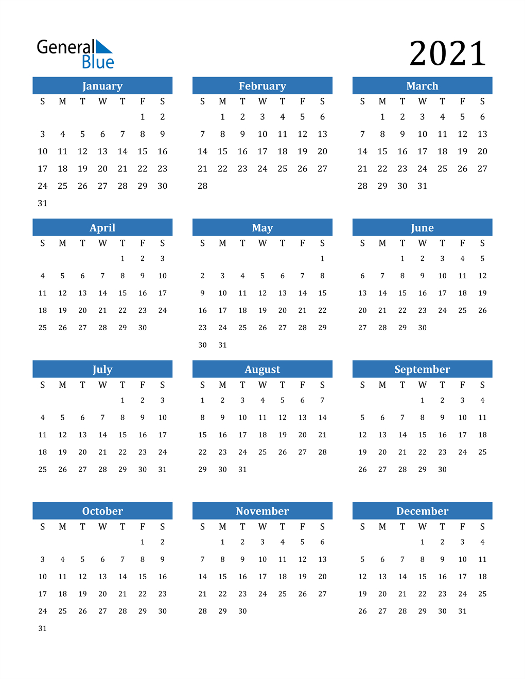 2021 Calendar (Pdf, Word, Excel) with Free Print 2021 Calendars Without Downloading