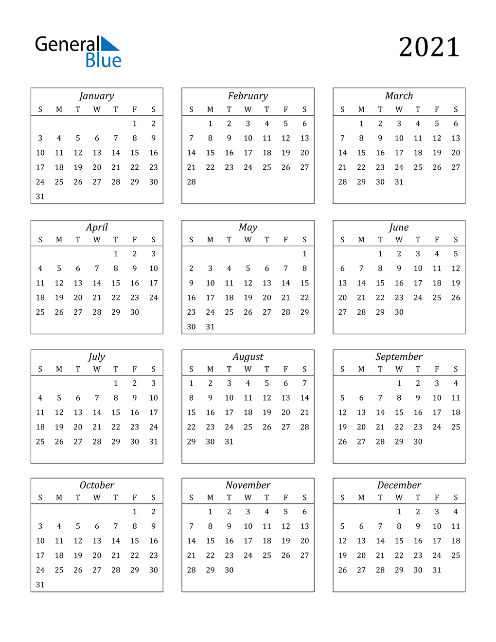 2021 Calendar (Pdf, Word, Excel) with regard to Printfree Calendar 2021 With Date Boxes