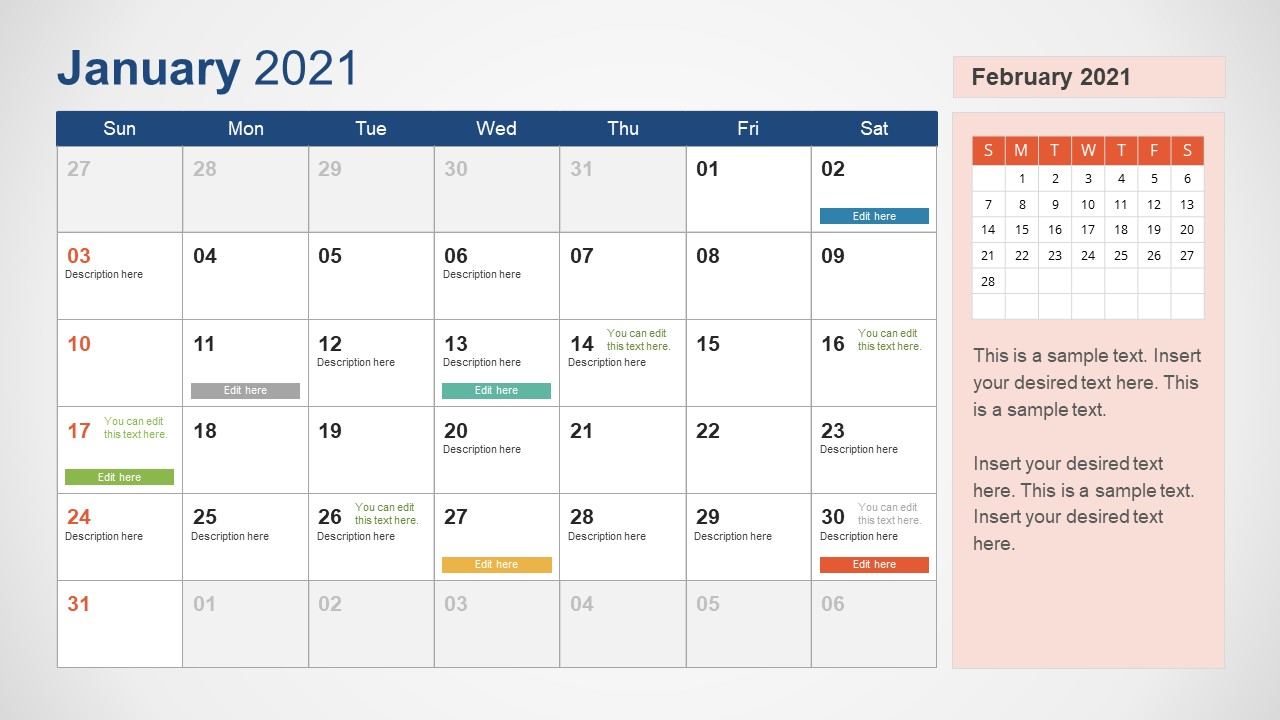 2021 Calendar Powerpoint Template pertaining to 2021 Calendar To Fill In