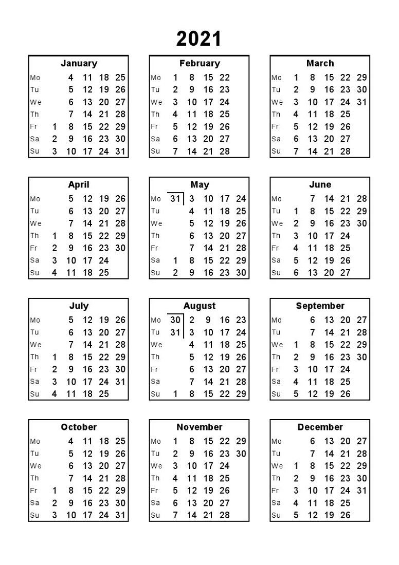 2021 Calendar Print Out Full Months – Delightful For You To with Calendar 2021 All Months