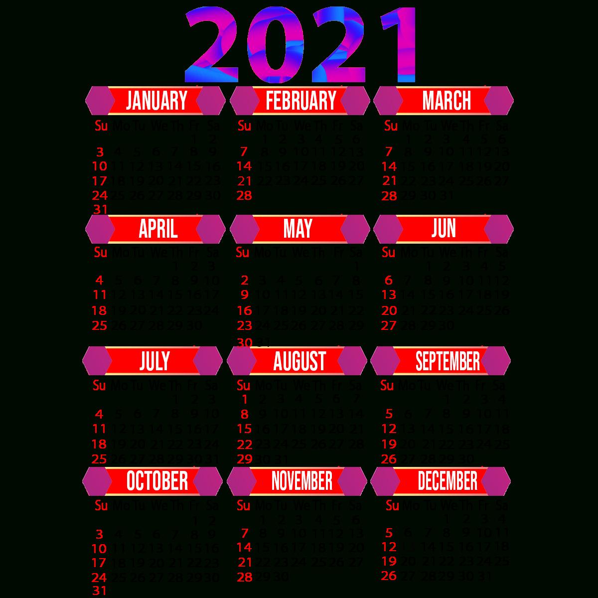 2021 Calendar Printable | 12 Months All In One | Calendar 2021 pertaining to Calendar 2021 All Months