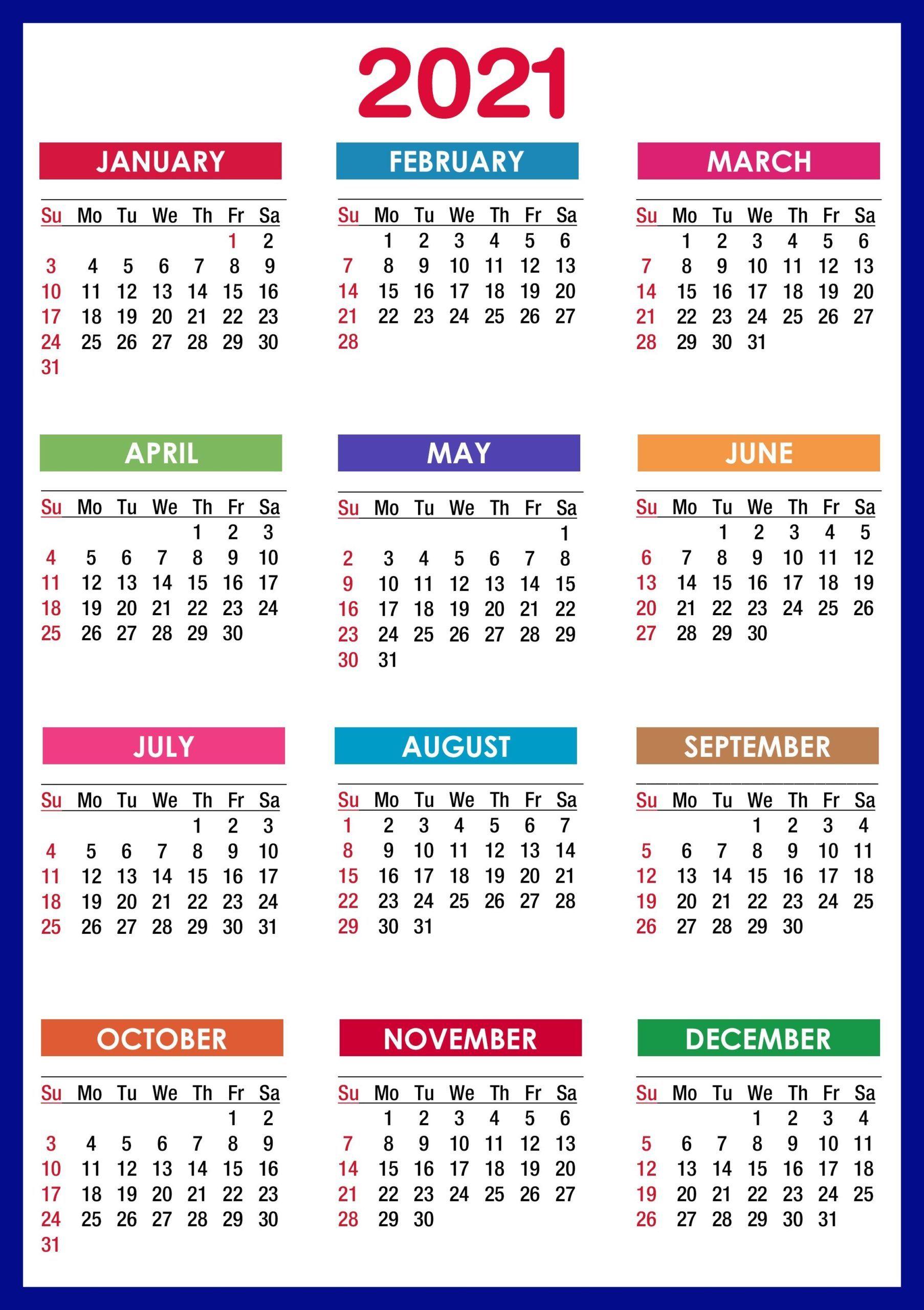 2021 Calendar Printable | 12 Months All In One | Calendar regarding Calendar 2021 All Months