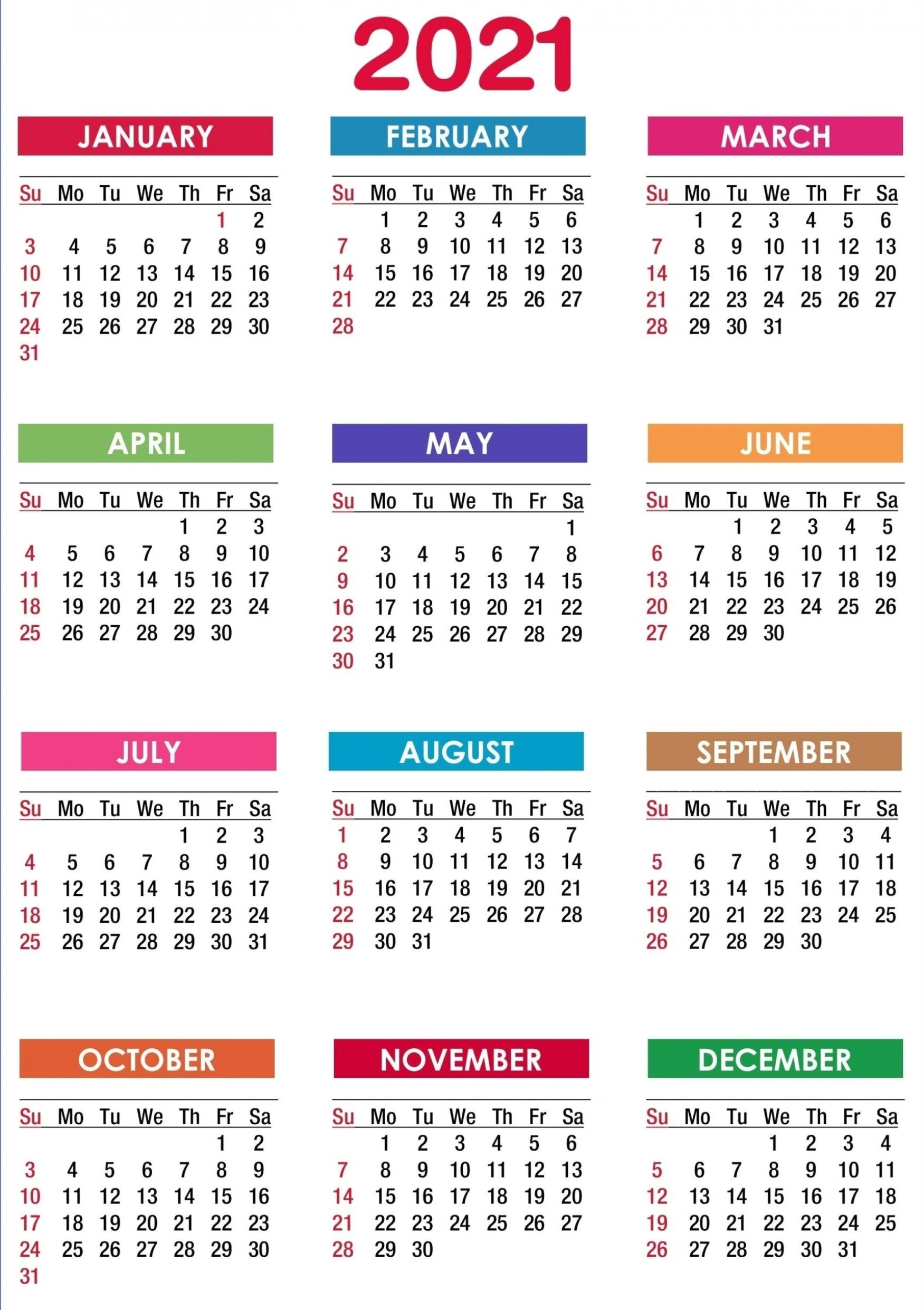 2021 Calendar Printable | 12 Months All In One In 2020 inside Calendar 2021 All Months