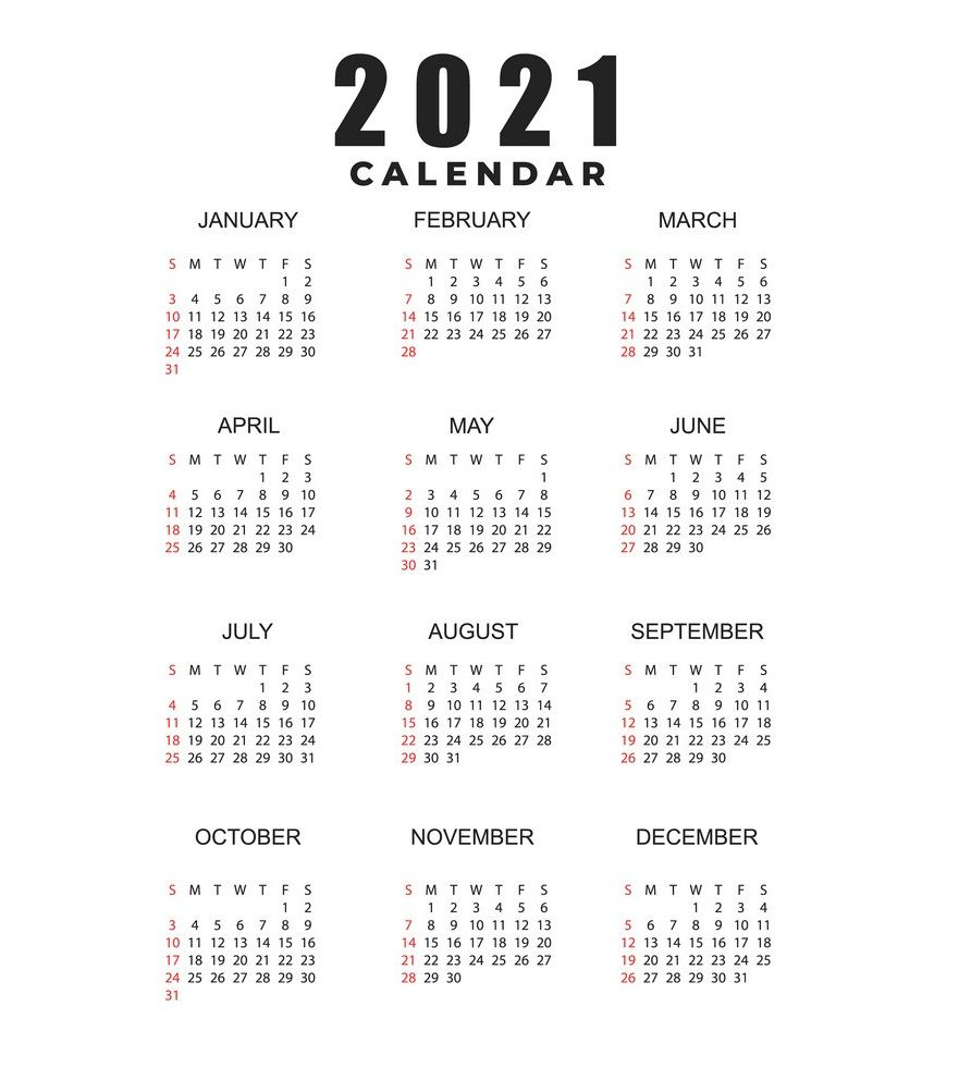 2021 Calendar Printable | 12 Months All In One - Vozeli pertaining to Calendar 2021 All Months