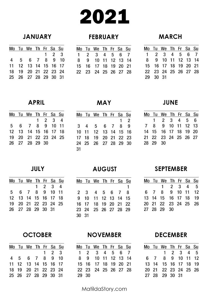 2021 Calendar Printable Free, White – Monday Start pertaining to Print Free 2021 Calendar Without Downloading