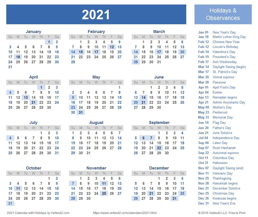 2021 Calendar Templates And Images in Calendario Vertex 2021