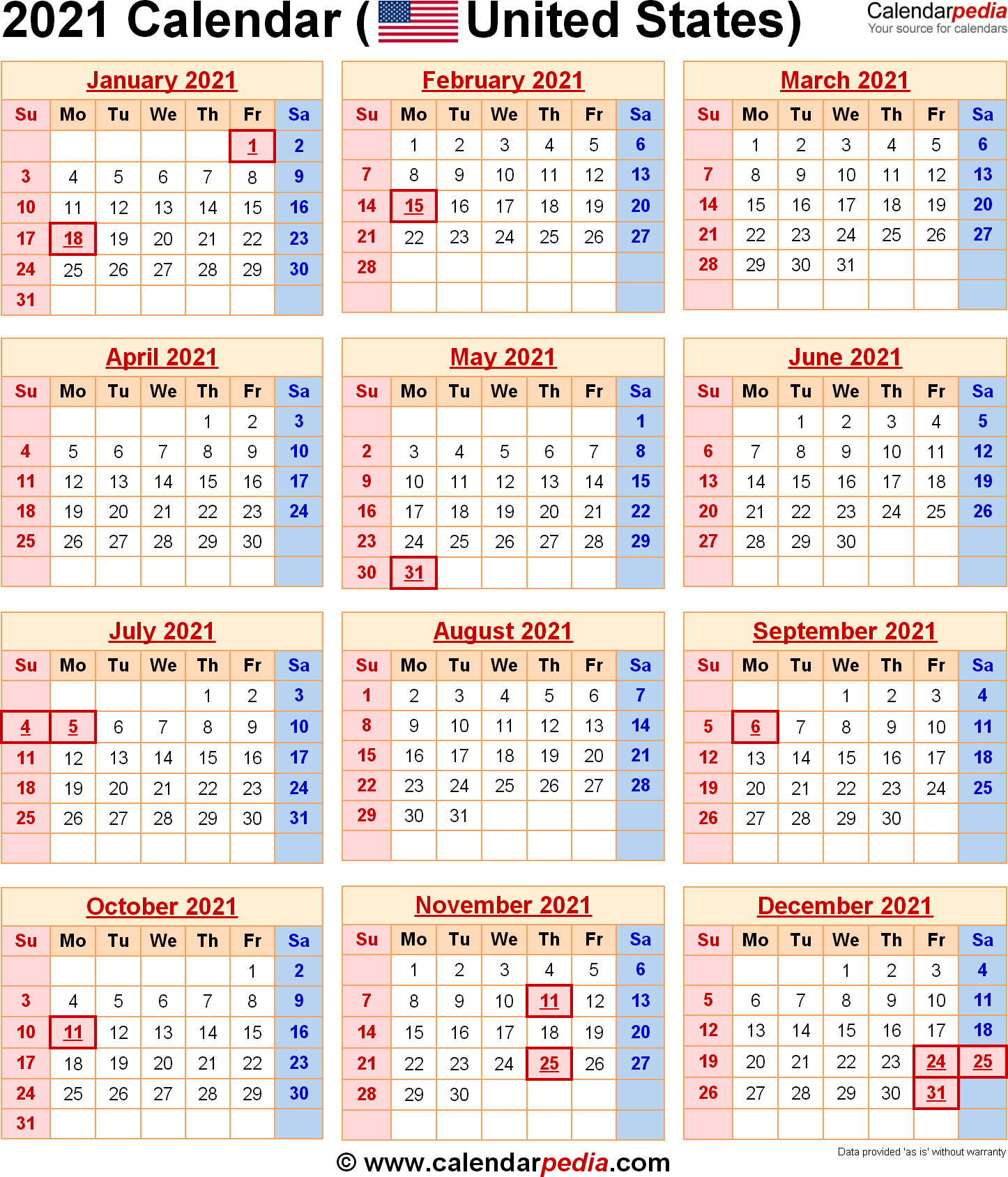 2021 Calendar With Federal Holidays throughout Federal Government Calendar 2021 Printable