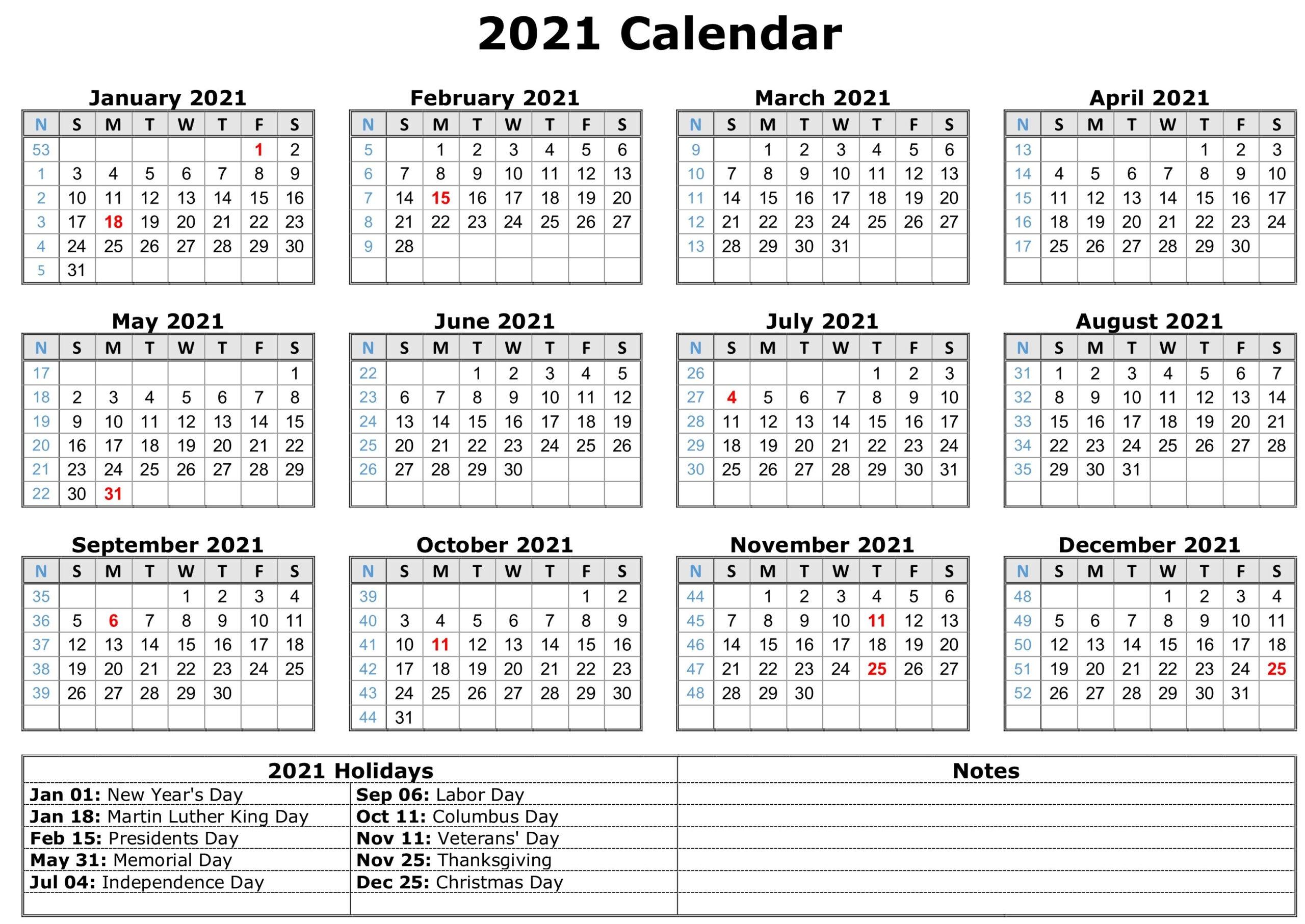 2021 Calendar With Holidays | Free Calendar Template intended for Depo Calendar 2021 Pdf