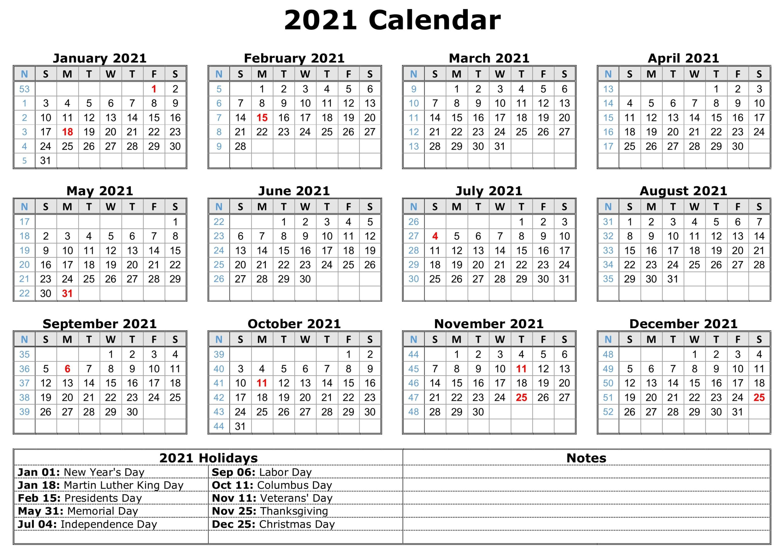 2021 Calendar With Holidays | Free Calendar Template throughout Free Print 2021 Calendars Without Downloading