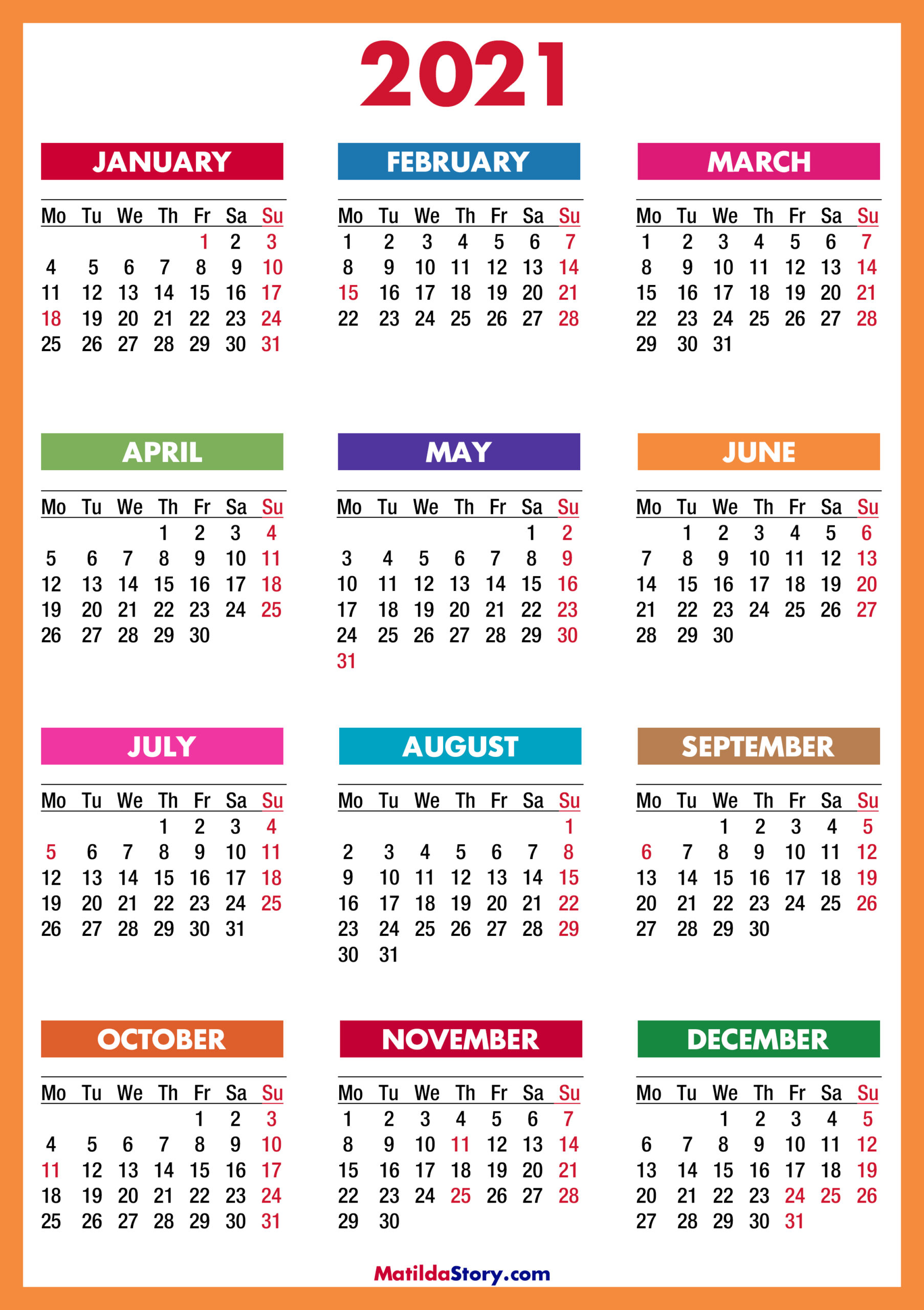 2021 Calendar With Holidays, Printable Free, Colorful, Red with Free Print 2021 Calendars Without Downloading
