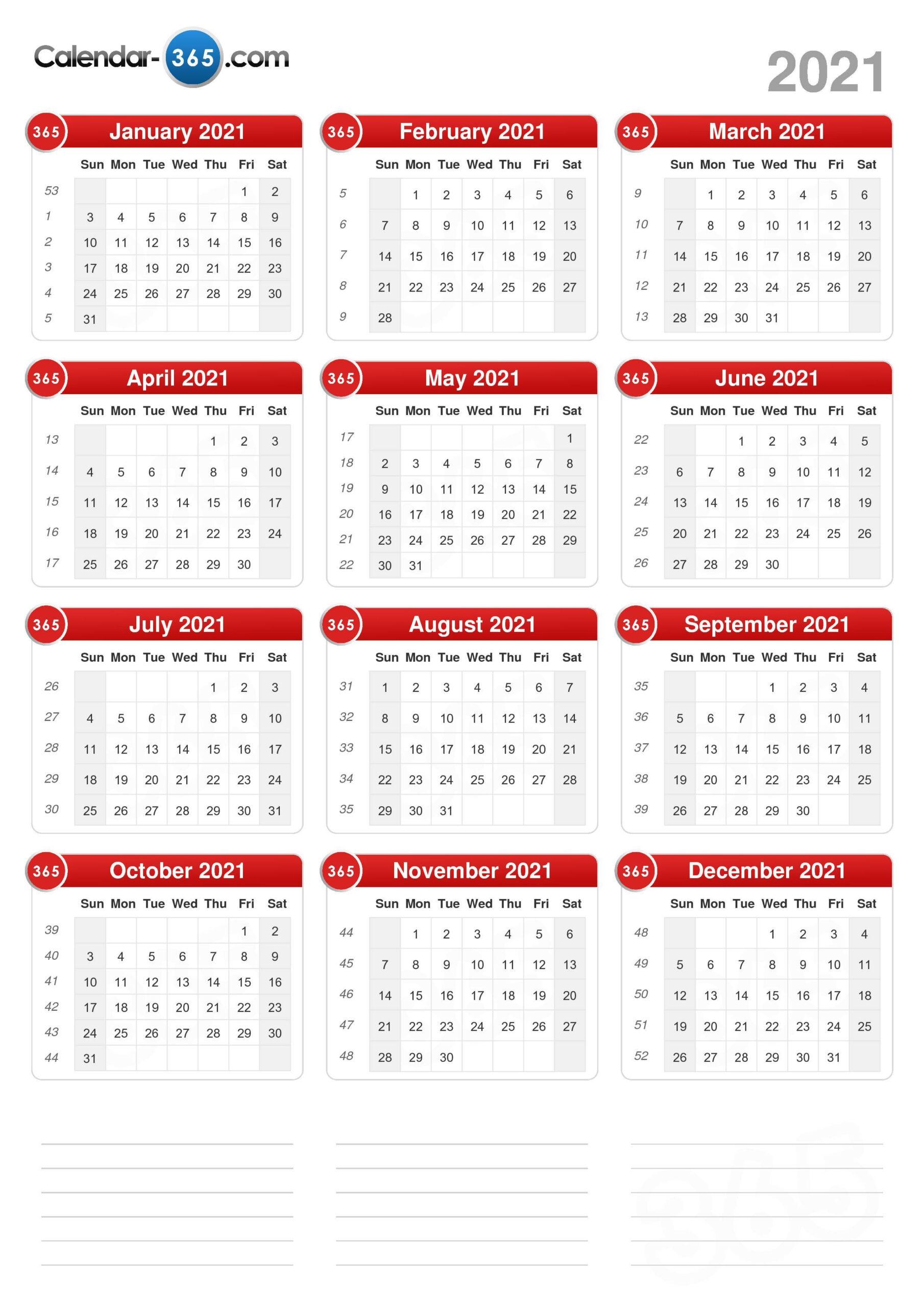 2021 Calendar with Sunday To Saturday Year Calendar 2021/21