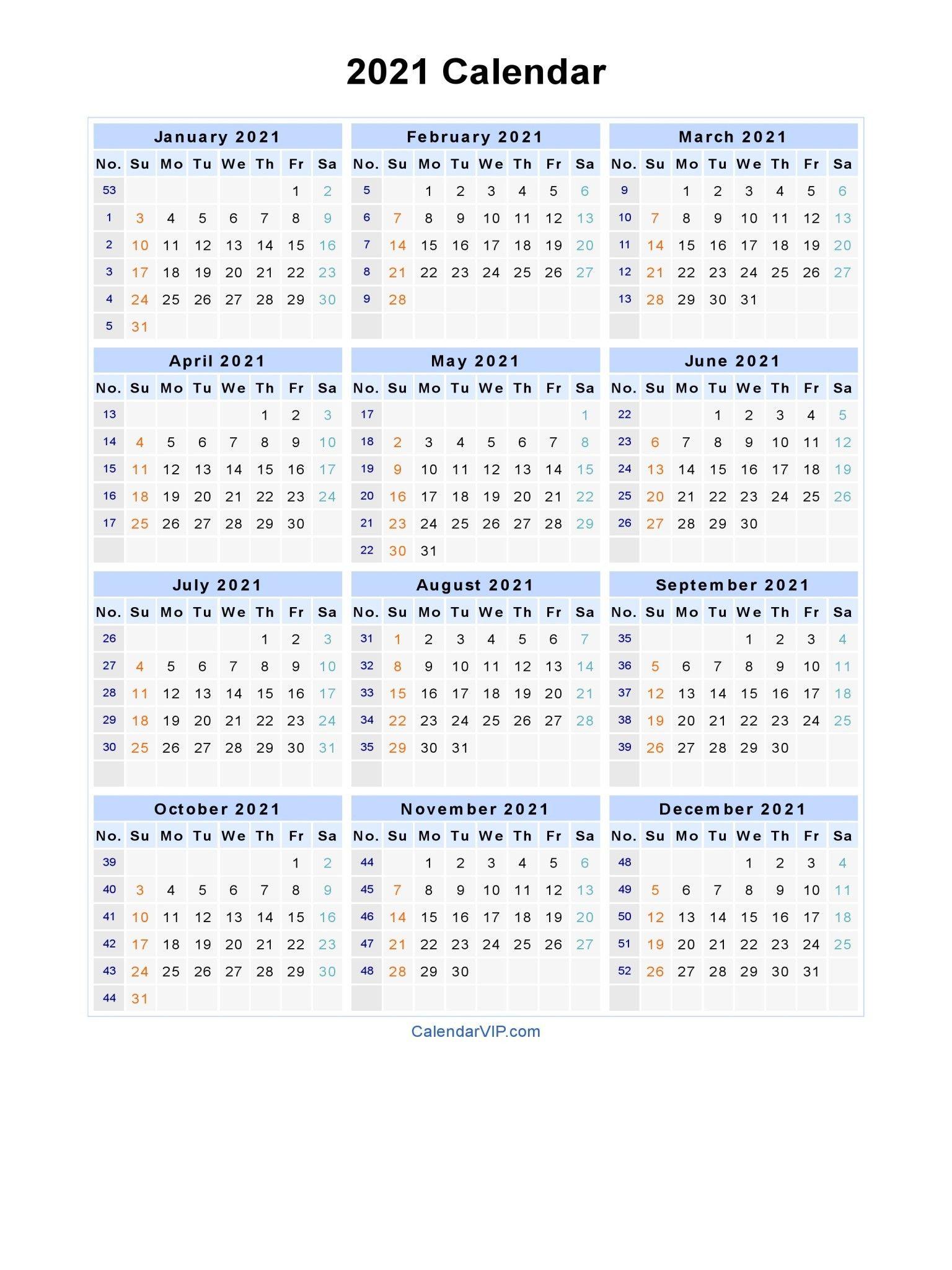 2021 Calendar With Week Numbers Excel Full – Encouraged In in Weekly Planner For 2021- 52 Weeks