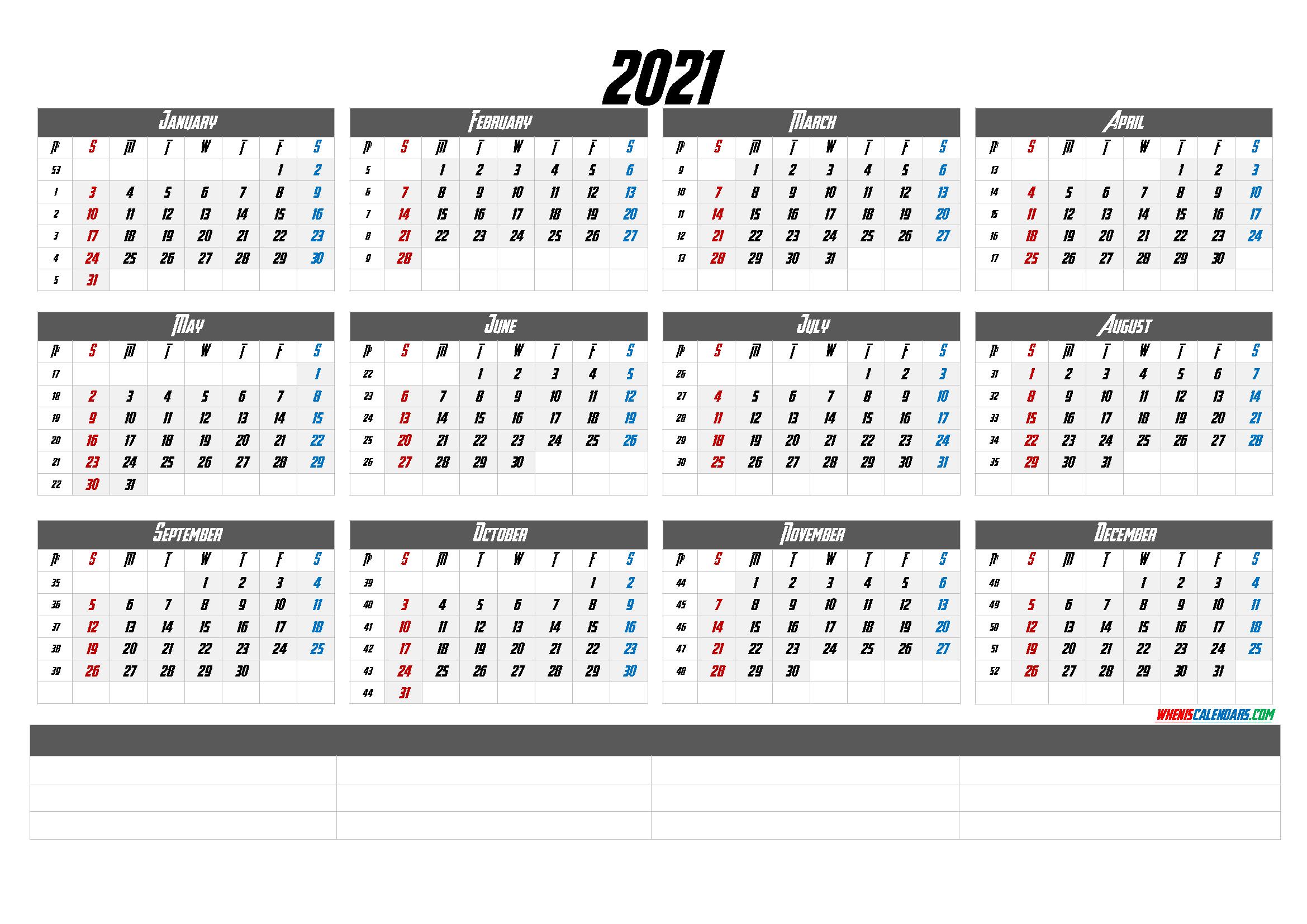 2021 Calendar With Week Numbers Printable – Calendraex regarding Monthly Calendar By Week Number 2021