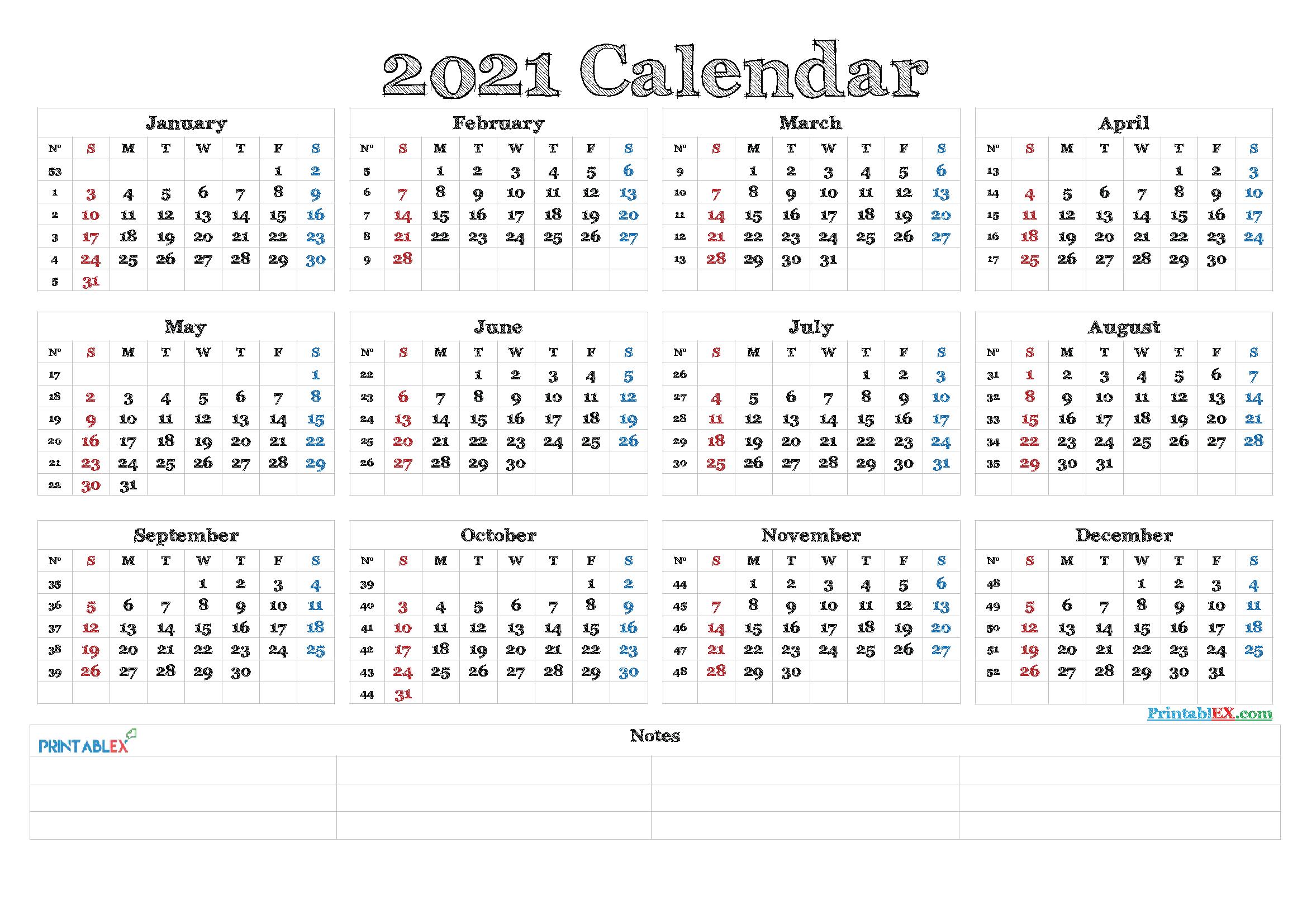 2021 Calendar With Week Numbers Printable with regard to Monthly Calendar By Week Number 2021